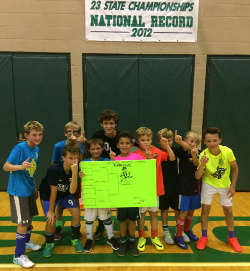 This group of boys enjoyed their weeklong soccer camp at Bishop England.
