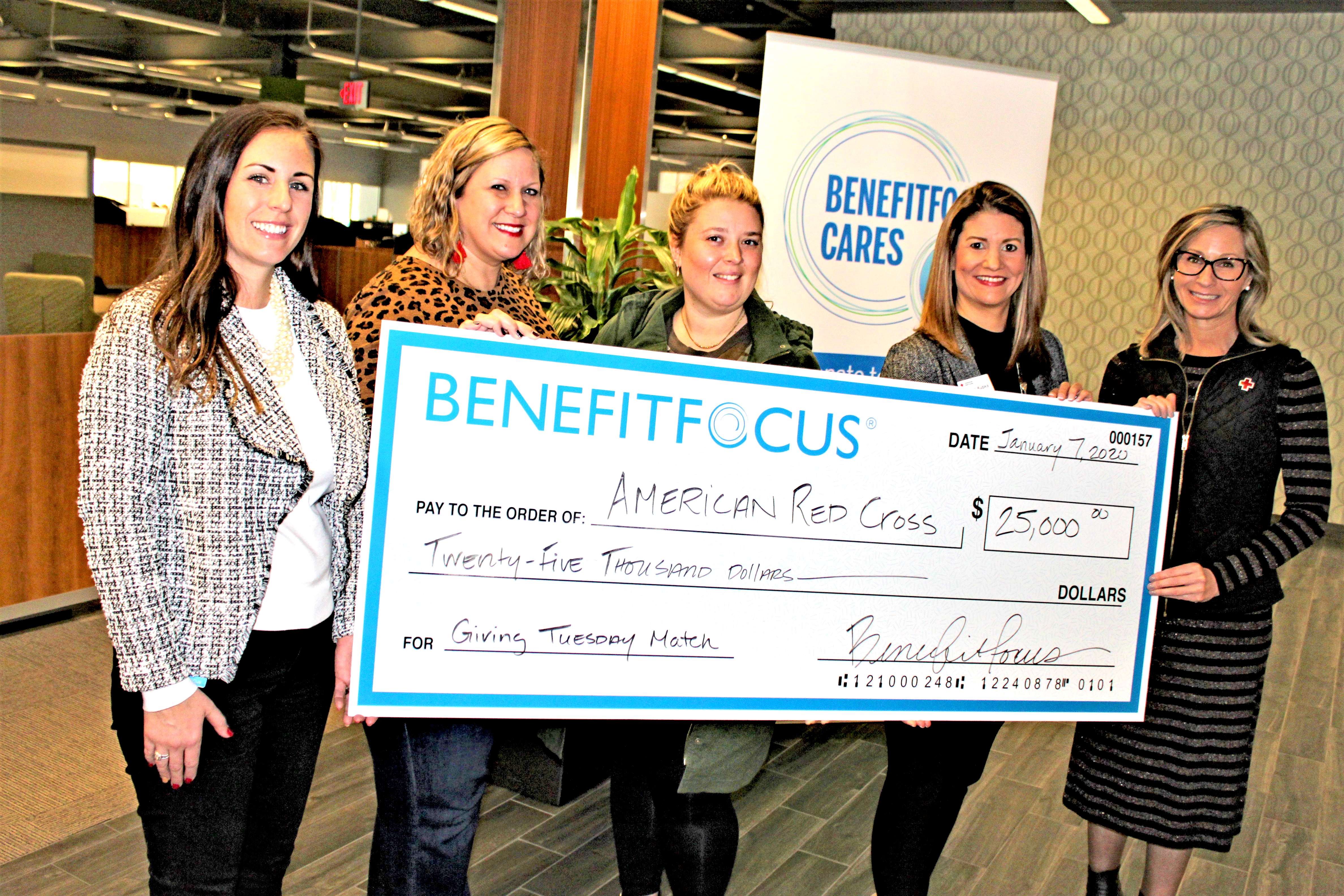 Earlier this month, Benefitfocus presented a check for $25,000 to the Palmetto Region of the American Red Cross in relation to the company's Giving Tuesday match incentive. For their 2019 Holiday Giving Campaign, Benefitfocus stepped up as a partner to match gifts given on Giving Tuesday, up to $25,000. Pictured are: Cate Bates, Demand Generation Manager, Benefitfocus; Ashley Hopkins Furr, Learning & Development Specialist II, Learning & Development, Benefitfocus; Marian Williams, Renewal Program Manager, Benefitfocus; Nicole Kupka, Regional Officer, Palmetto SC Region Red Cross; and Ashley Henyan, Palmetto Region SC Red Cross Executive Director.