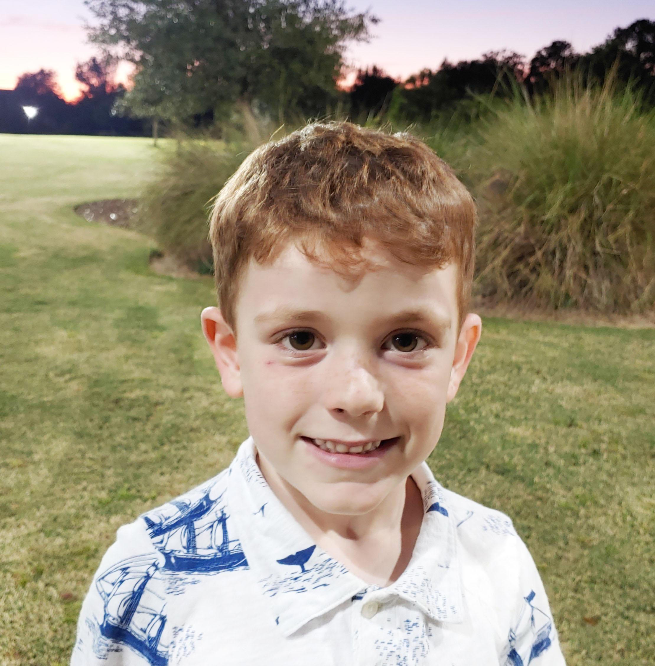A shark football player because I like the shark head.  Carter, age 6  Daniel Island