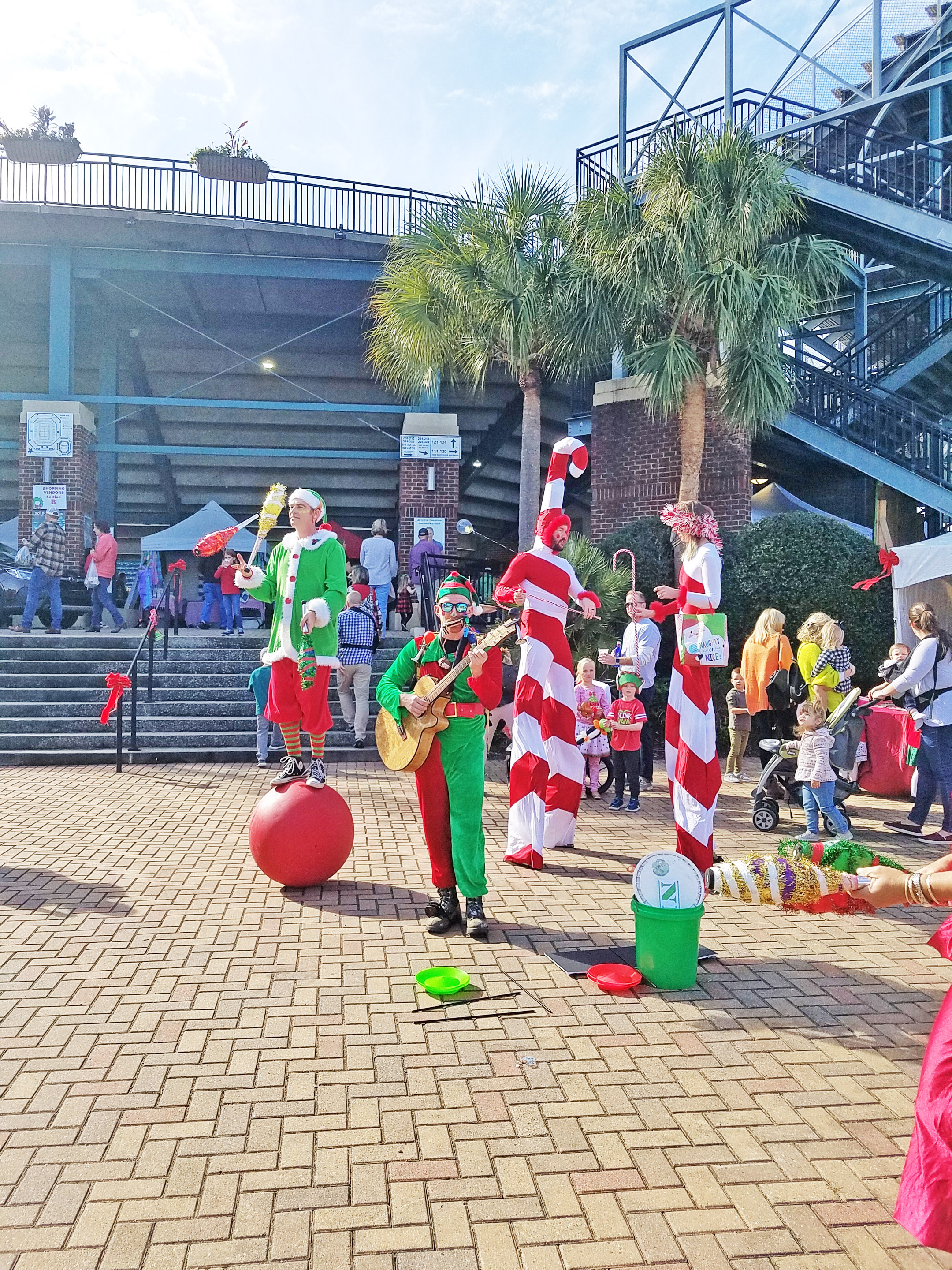 This unique performance troupe, Good Clean Fun, offered up festive holiday entertainment for the crowd at Volvo Car Stadium.