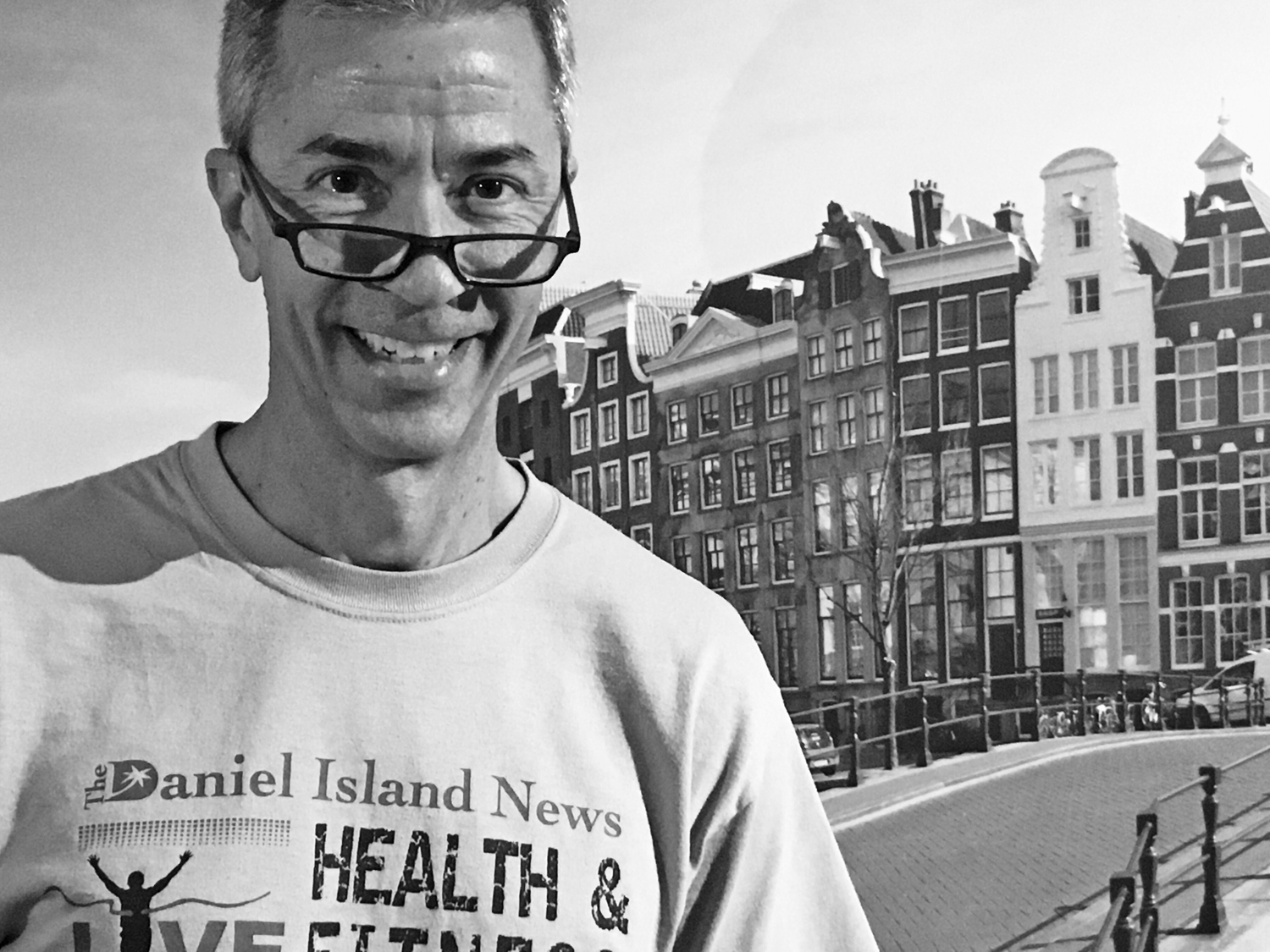 Frank Wells proudly donned a Daniel Island News shirt while visiting Amsterdam recently!