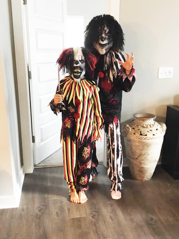 Fourth grader Harold Lerner is a scary clown with his mom, Sara Towber.