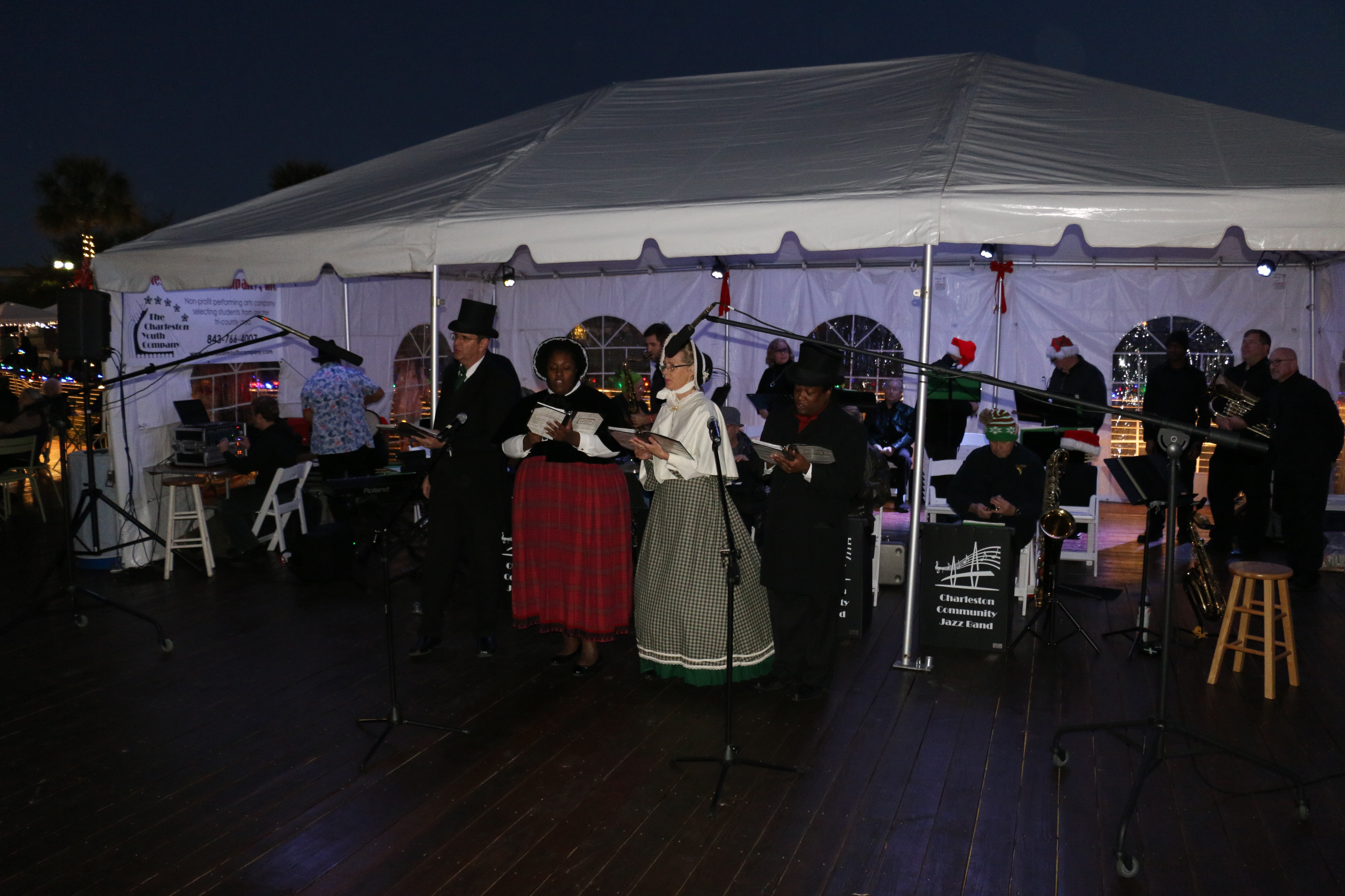 Musicians and carolers led the tree lighting celebration on Daniel Island.