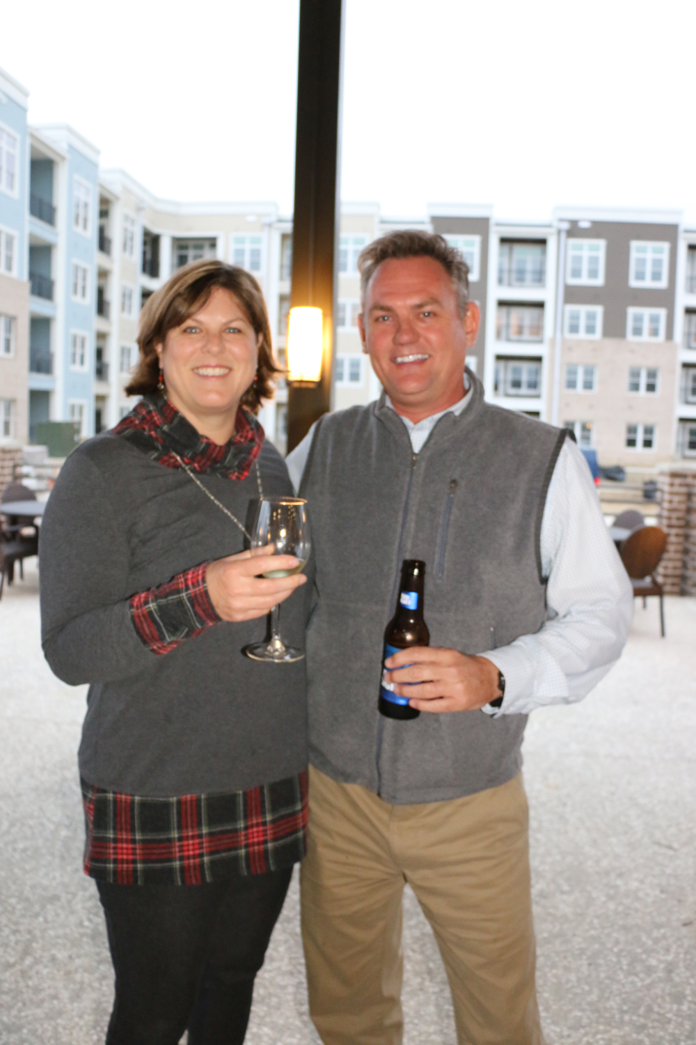 DIBA members and guests also enjoyed talking on the patio at Bin 526. Pictured are Lee Harper and Derrick Lemmon.