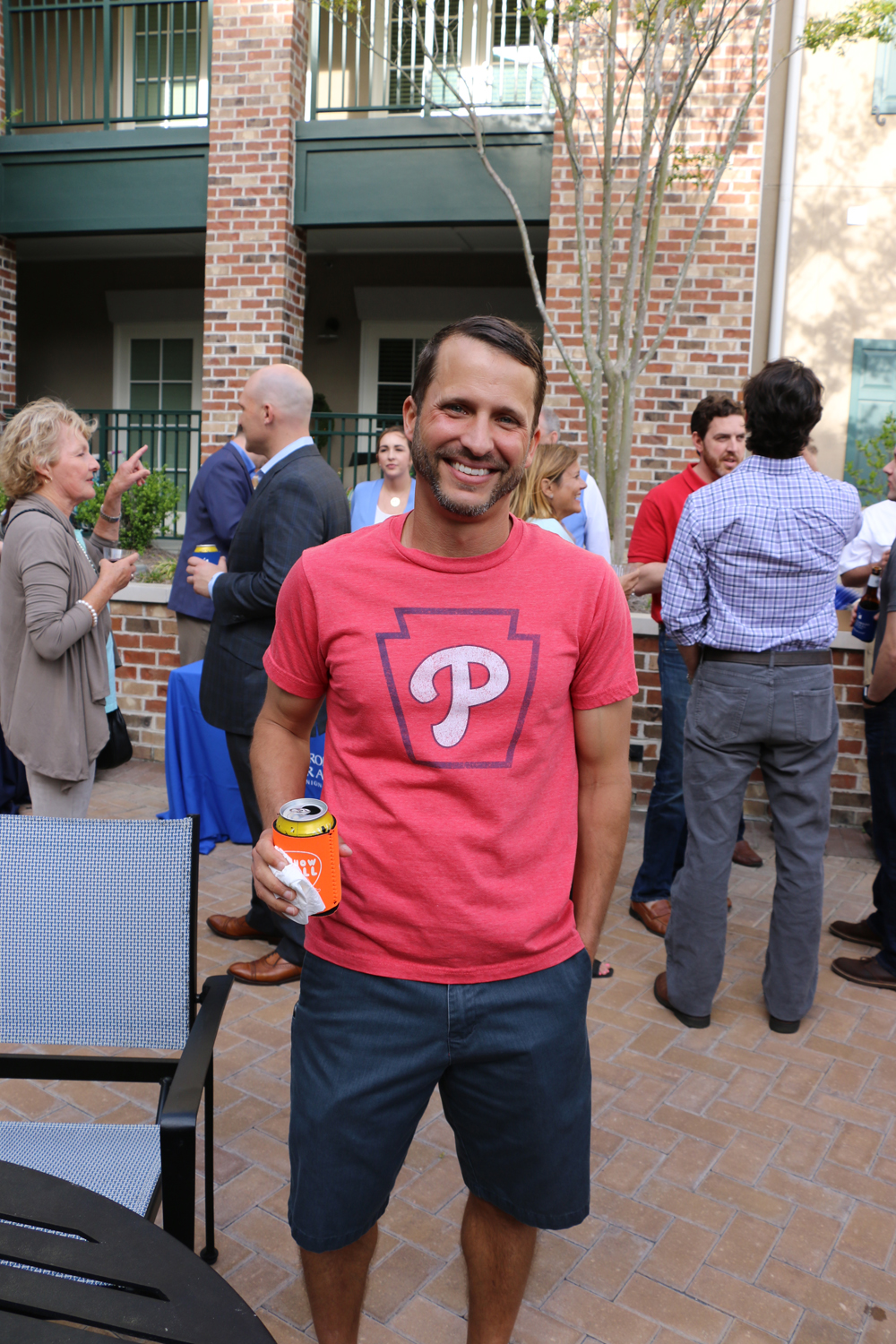 Ian Auman showed support for his team on MLB's opening day, which coincided with the block party.