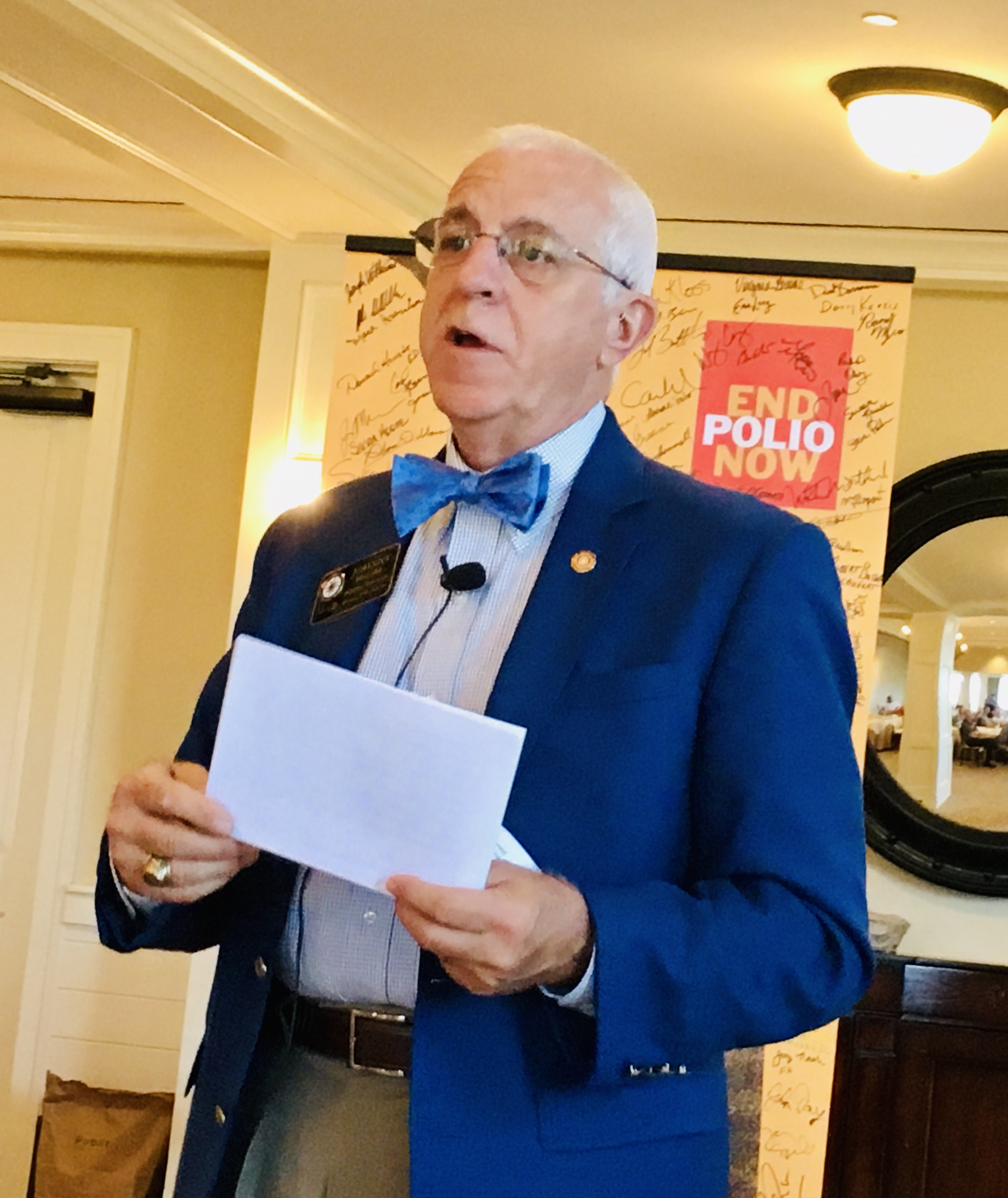 On September 11, Rotary District Governor Johnny Moore spoke at the weekly breakfast meeting and shared his vision of the world mission of Rotary.