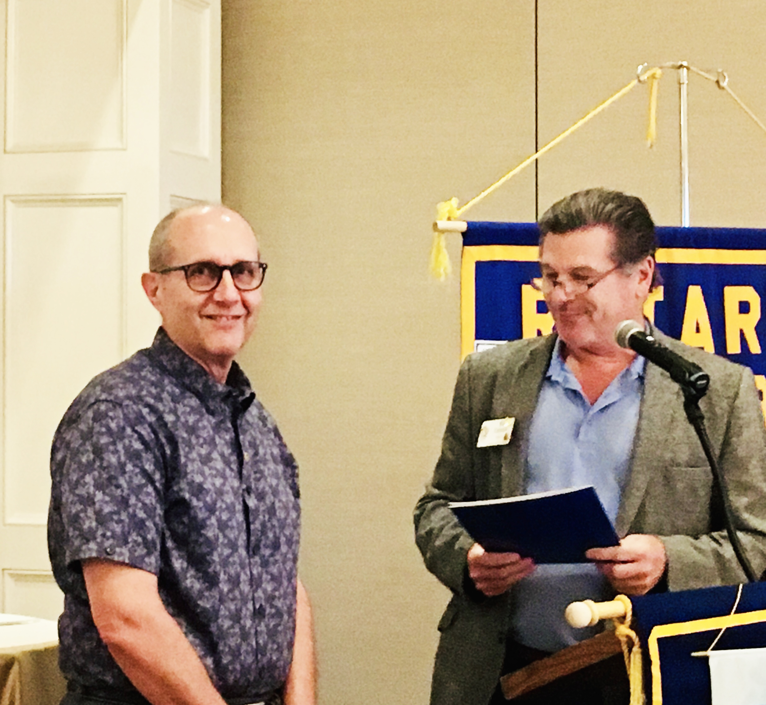 Ray Battocletti joined the DI Rotary Club this month. He is pictured with President Bill Cannon.