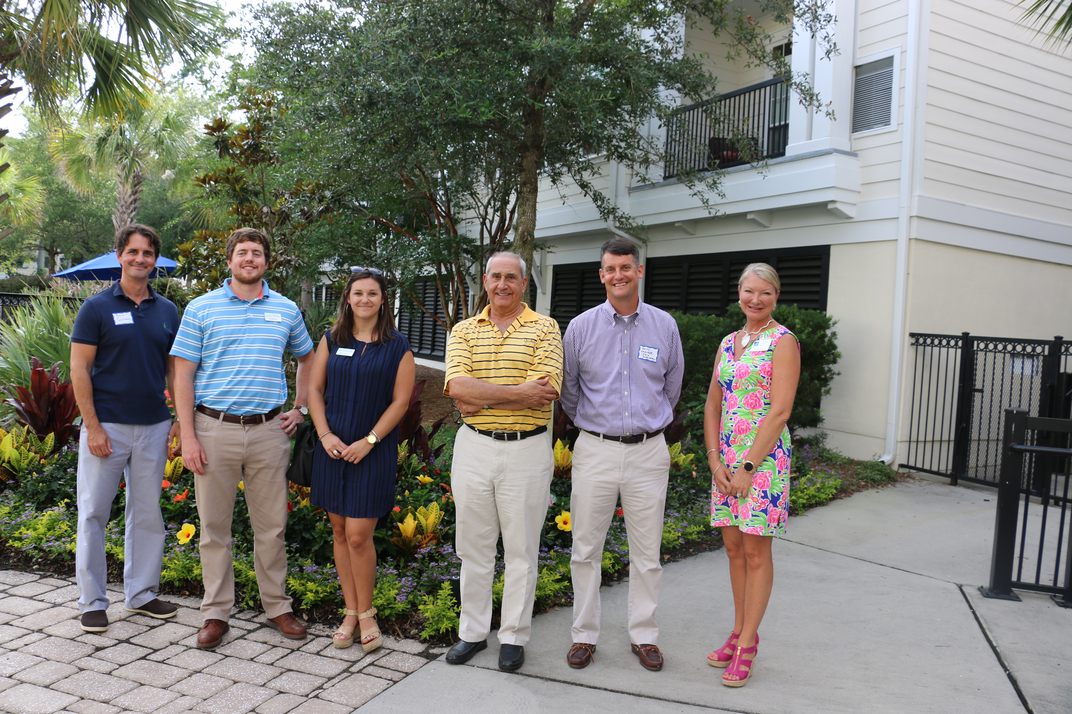 Meet the June Block Party sponsors: Bret Galloway of Salle Galloway, Michael Dew and Molly Graham of Taylor Agency, DIBA president Chuck Lattif, DIBA membership chair Pete Harper, and Dina Mewett, Director of Sales and Marketing at Summit Place.