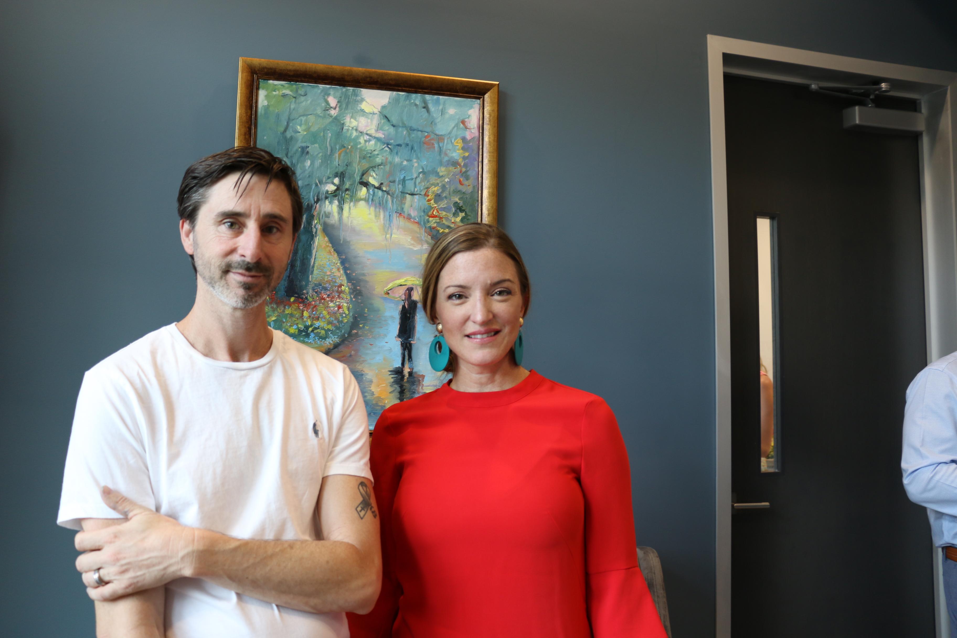 Artist Brian Benson and Interior Designer Molly Eileen Bean enjoy the festivities.