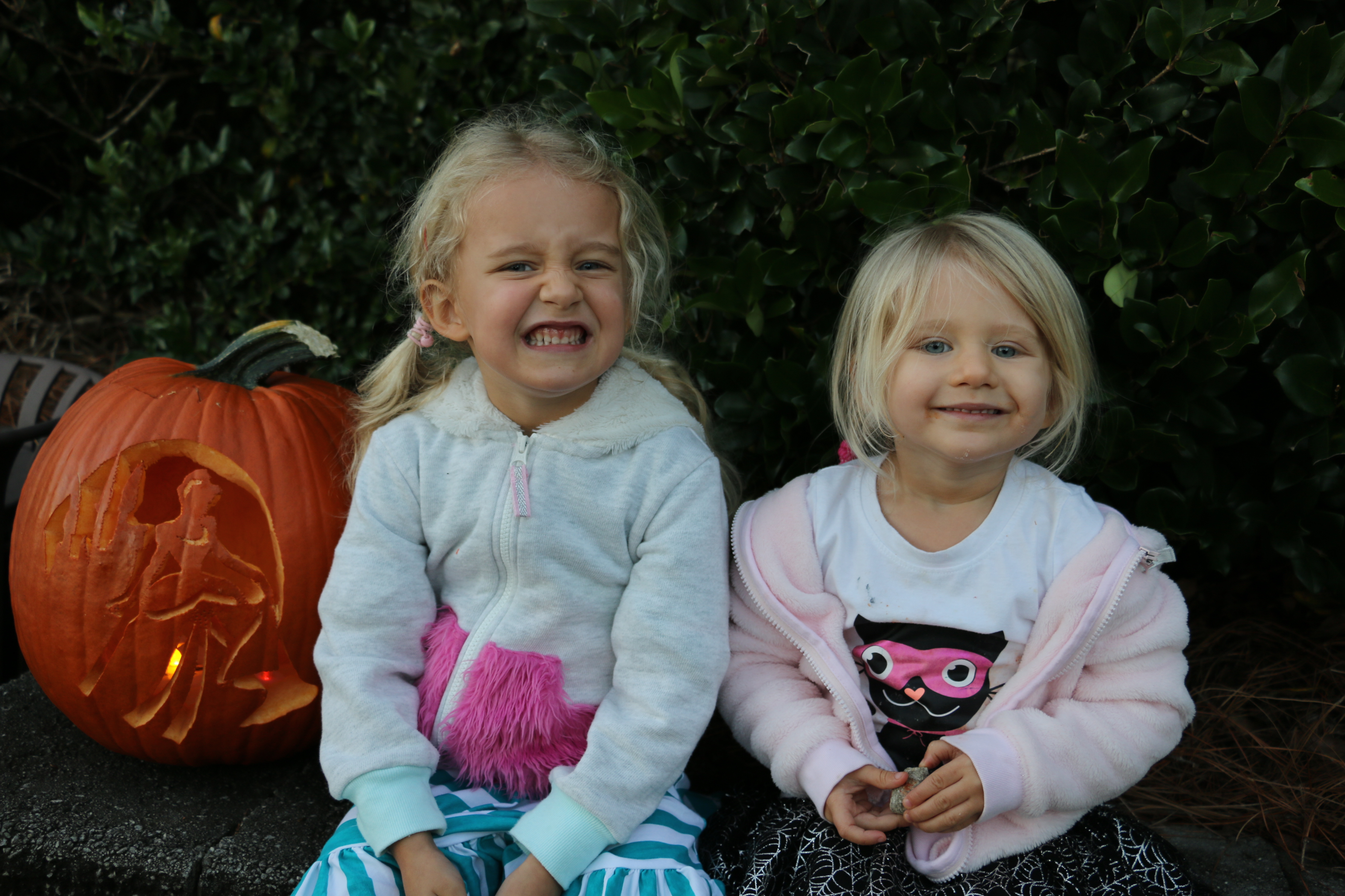 Ellie and Claire sit beside a Cinderella-themed pumpkin that caught their attention.