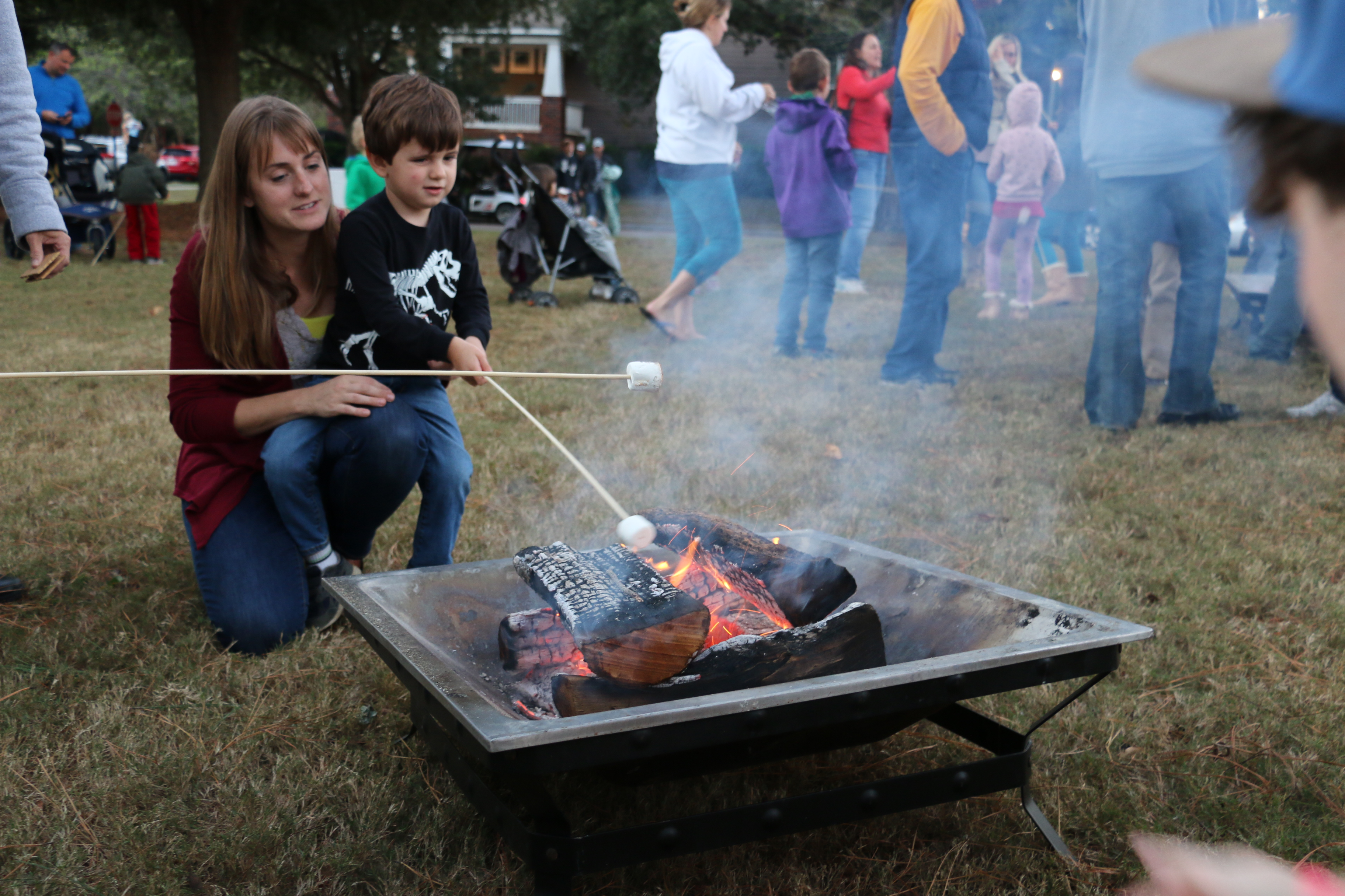 The fire pit, provided and supervised by Daniel Island Boy Scout Troop 519, was a popular spot for roasting s'mores.