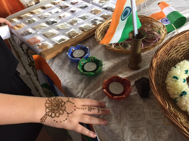 Henna Art by Mary Sushma Gopu at the India table.