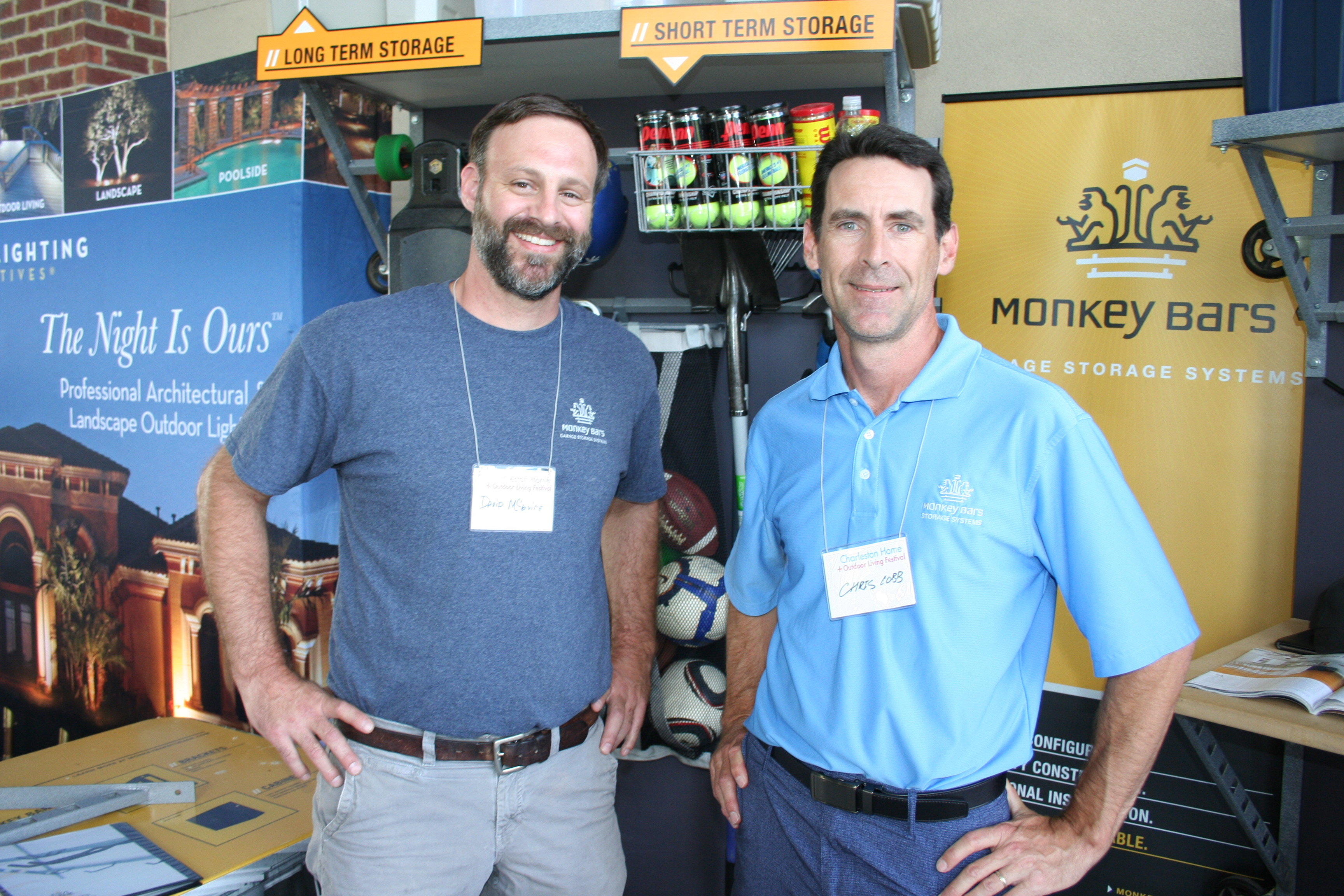 David McGuire and Chris Cobb of Monkey Bars educated visitors to their booth about the benefits of garage organization/storage systems.