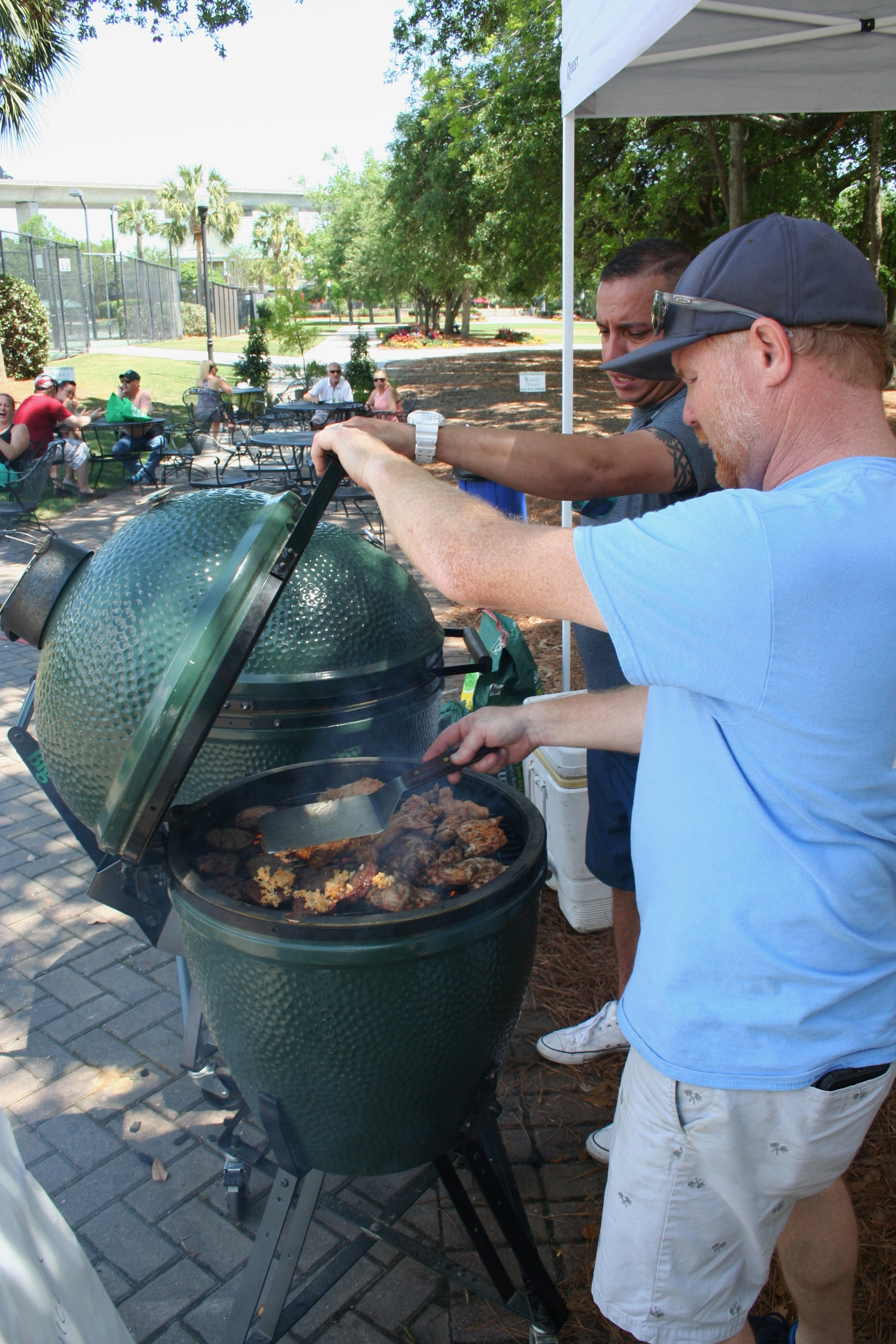 "The Charleston Home + Outdoor Living Festival featured grilling demonstrations on a ""Big Green Egg."" Attendees were invited to learn more about grilling, smoking and baking using the popular grills."