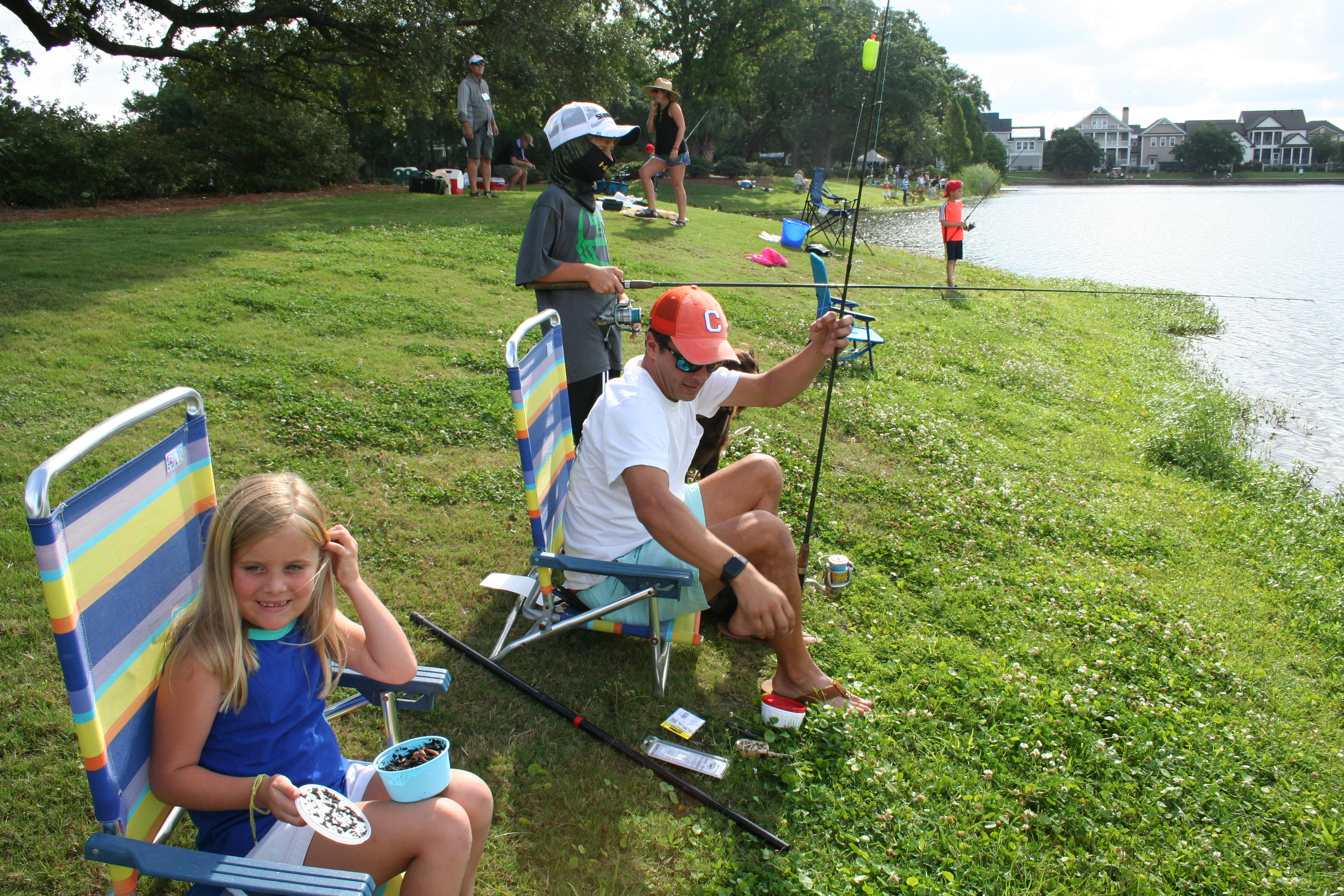 The Thaxton family was all in for the Kids' Fishing Tournament! Even dog, Grady, got in on the action!
