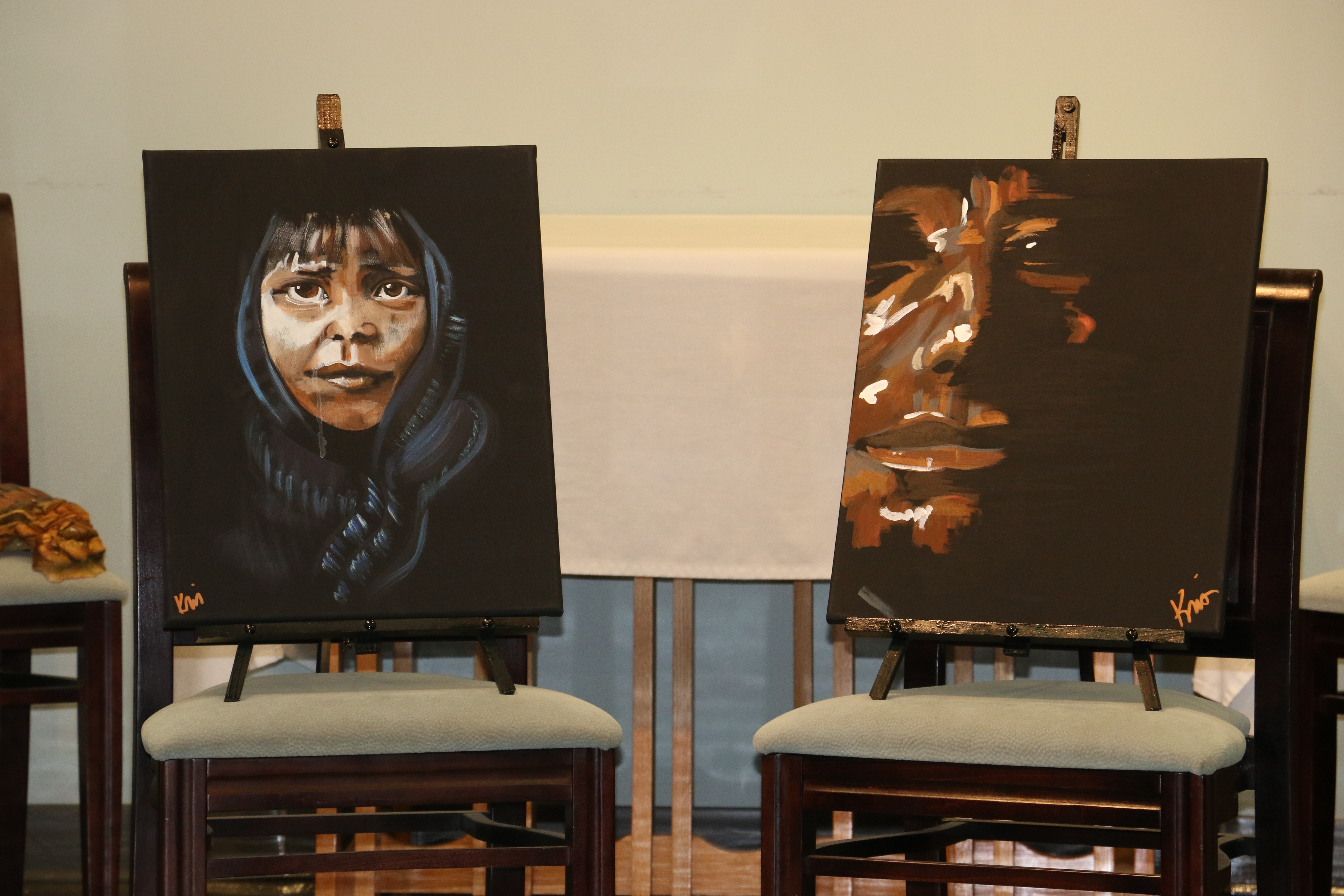 """Several of the pieces created by artist Kris Manning for """"Osceola's Muse"""" were on display at the DIHS gathering."""