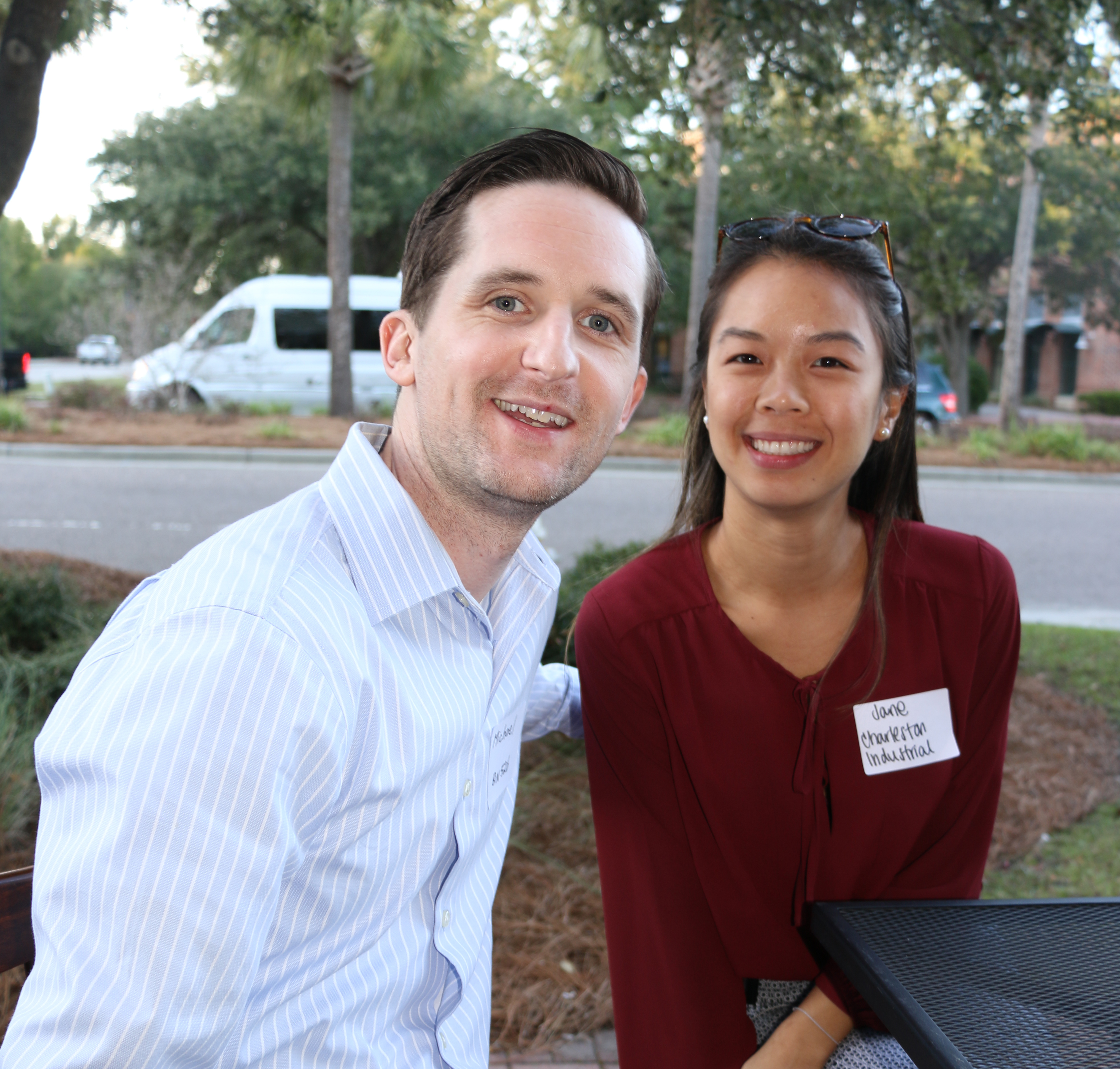 Michael Crotty of BIN 526 and Jane Unkasekvinai of Charleston Industrial chat during DIBA's Block Party at Ristorante LIDI on Friday, Oct. 25.
