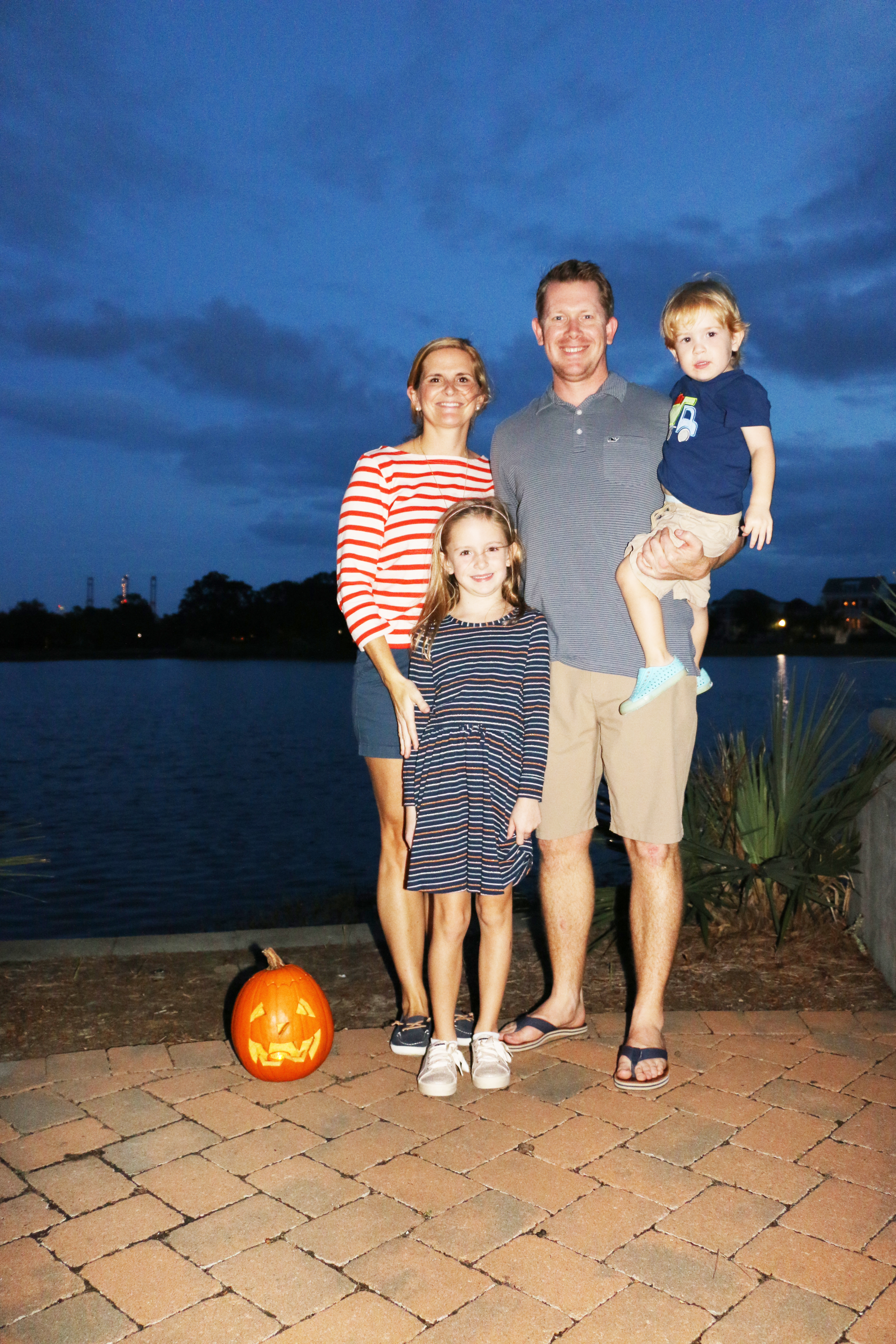 Smythe Lake is the perfect background for the Wilson family during the pumpkin walk.