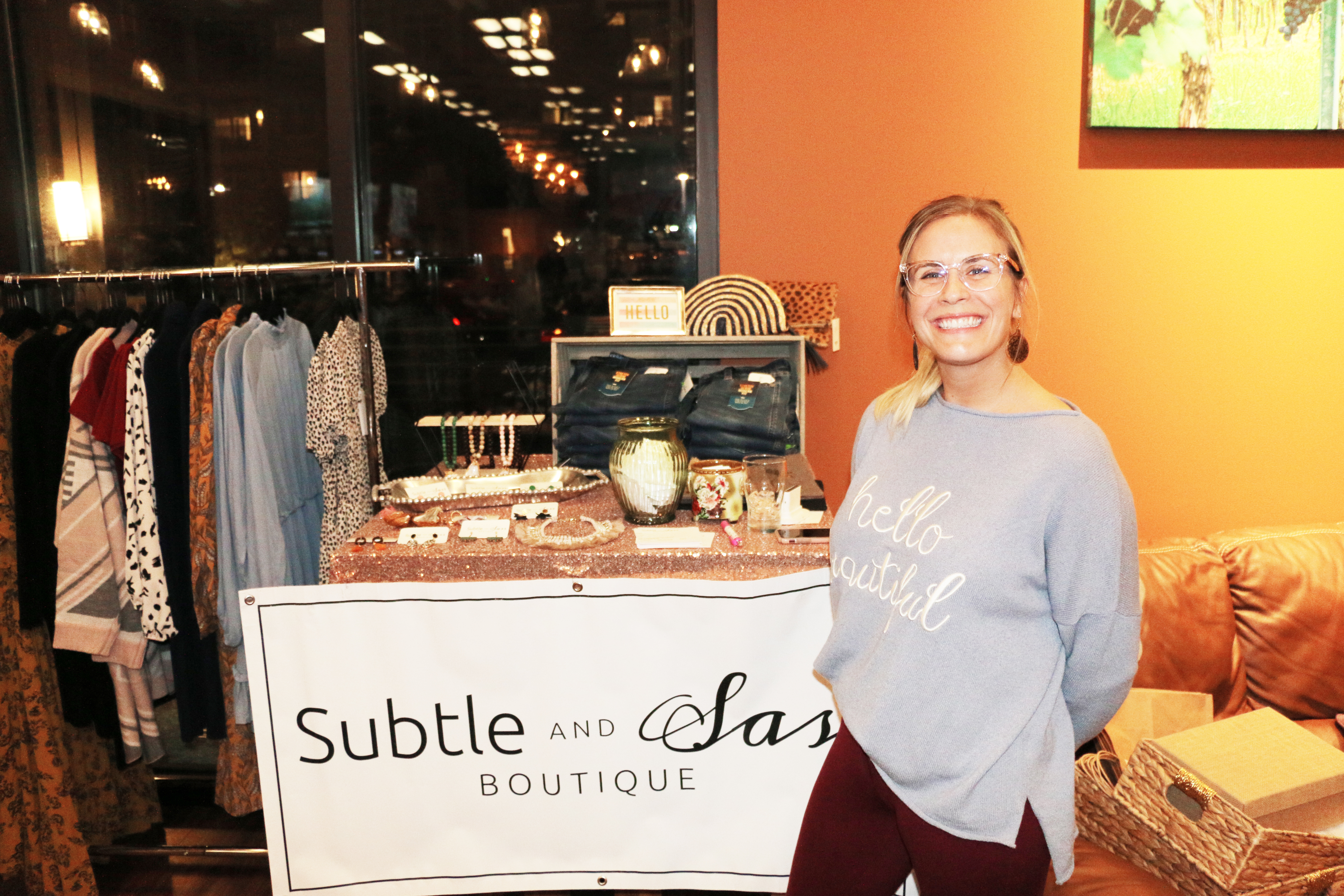Kelsey Clayton of Subtle and Sass Boutique is a happy vendor!