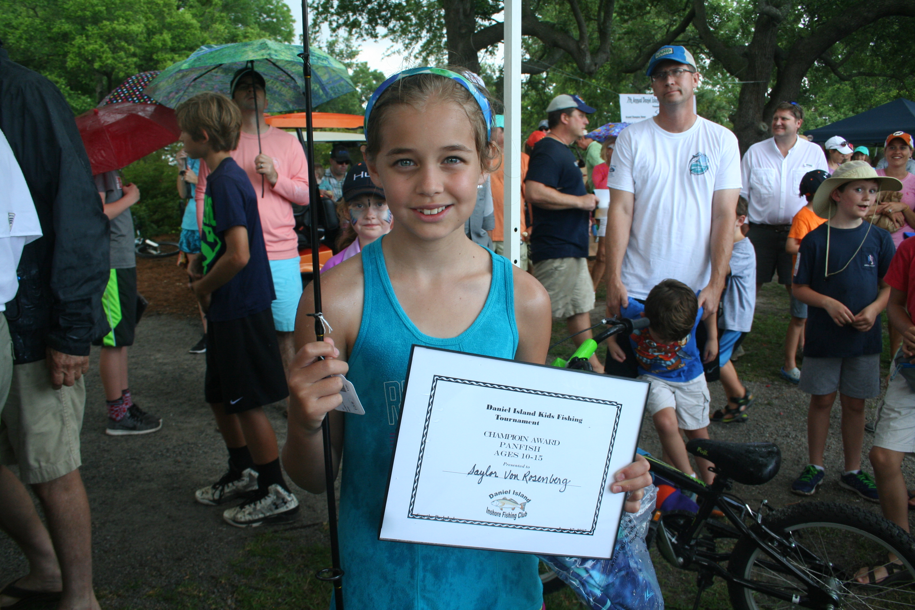 In the Panfish 10-15 year old category, the Champion Award was earned by Saylor Von Rosenberg, who caught an 8.5 inch Panfish. The first runner up was Reed Von Rosenberg and the second runner up was Emi Grace Lagadinos.