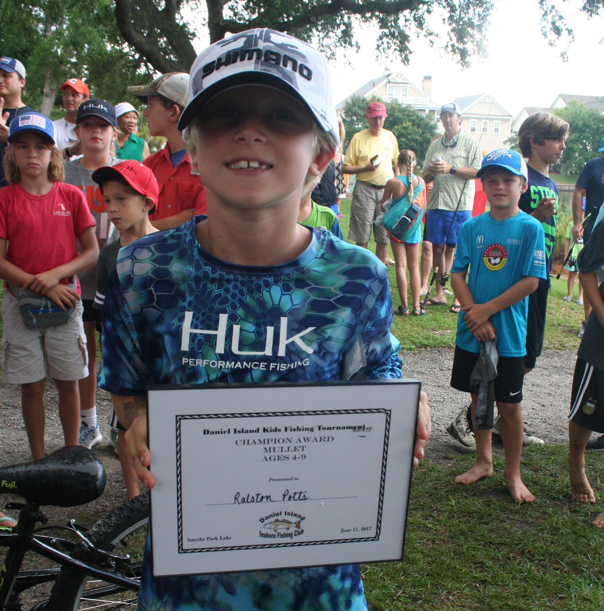 The Champion Award in the 4-9 age Mullet category went to Ralston Potts, who caught a 14 inch fish. The first runner up was Allean Potts and the second runner up was Will Ferguson.