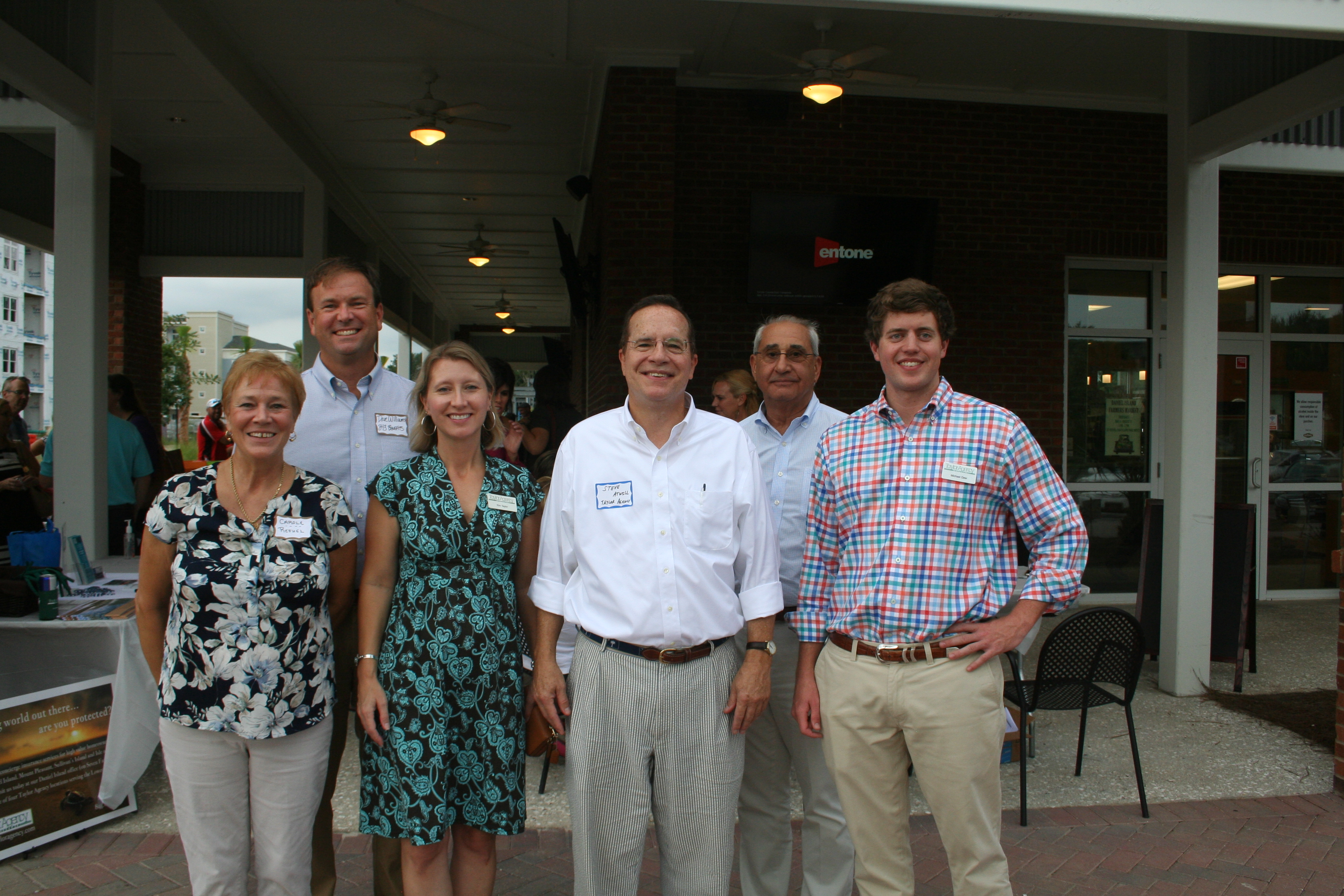 Meet the sponsors and other VIPs: Carole from Refuel, sponsor Dave Williams of 843 Benefits, Kim Taylor and Steve Atwill of the Taylor Agency, Chuck Lattif – DIBA president and owner of Coastal Premier Homes, and Michael Dew of the Taylor Agency. The event was also sponsored by Veterinary Specialty Care.