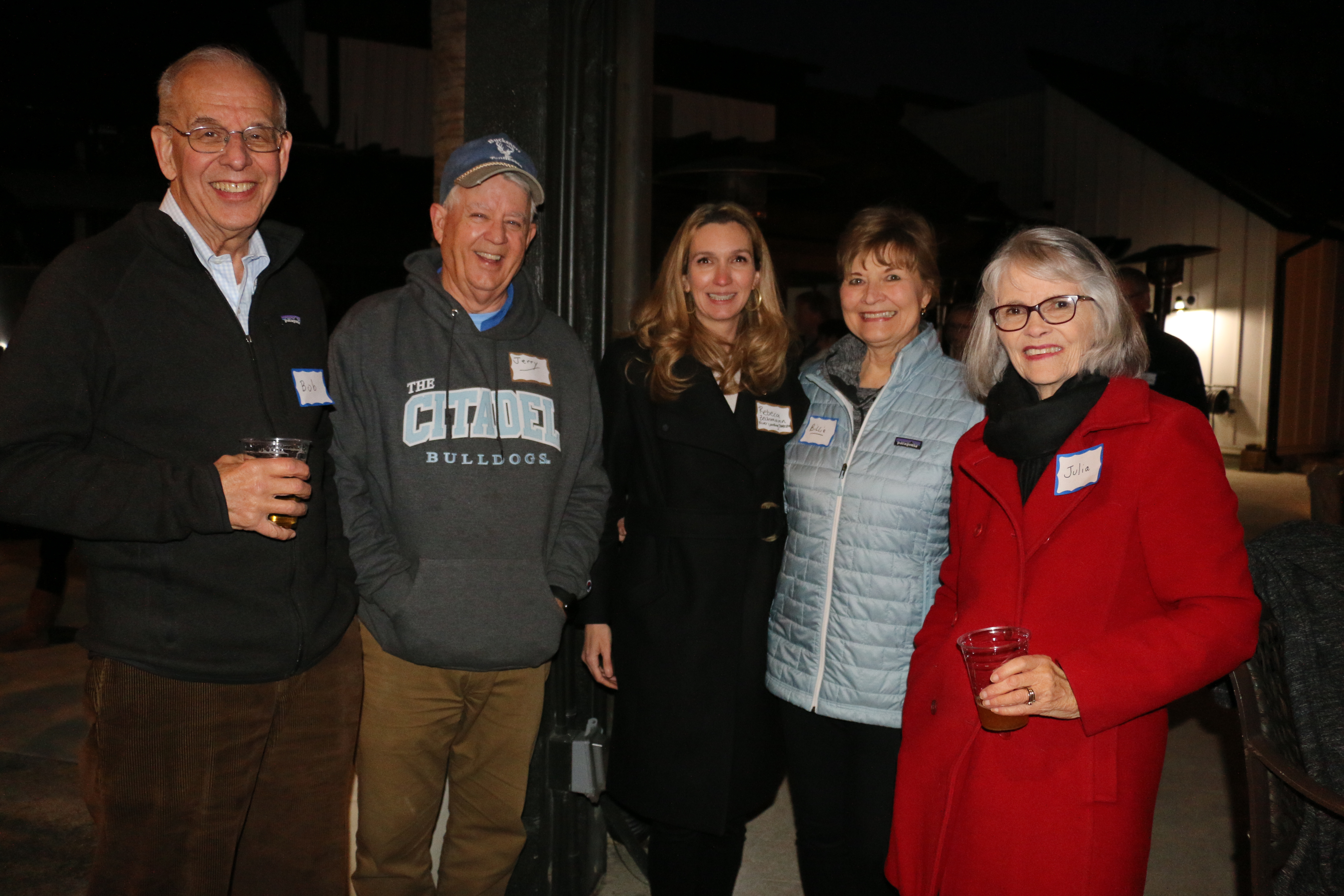 Bob Grubb, Jerry Bacon, Dr. Rebecca Zechmann, Billie Bacon and Julia Grubb enjoyed a cool evening with oysters and fellowship.