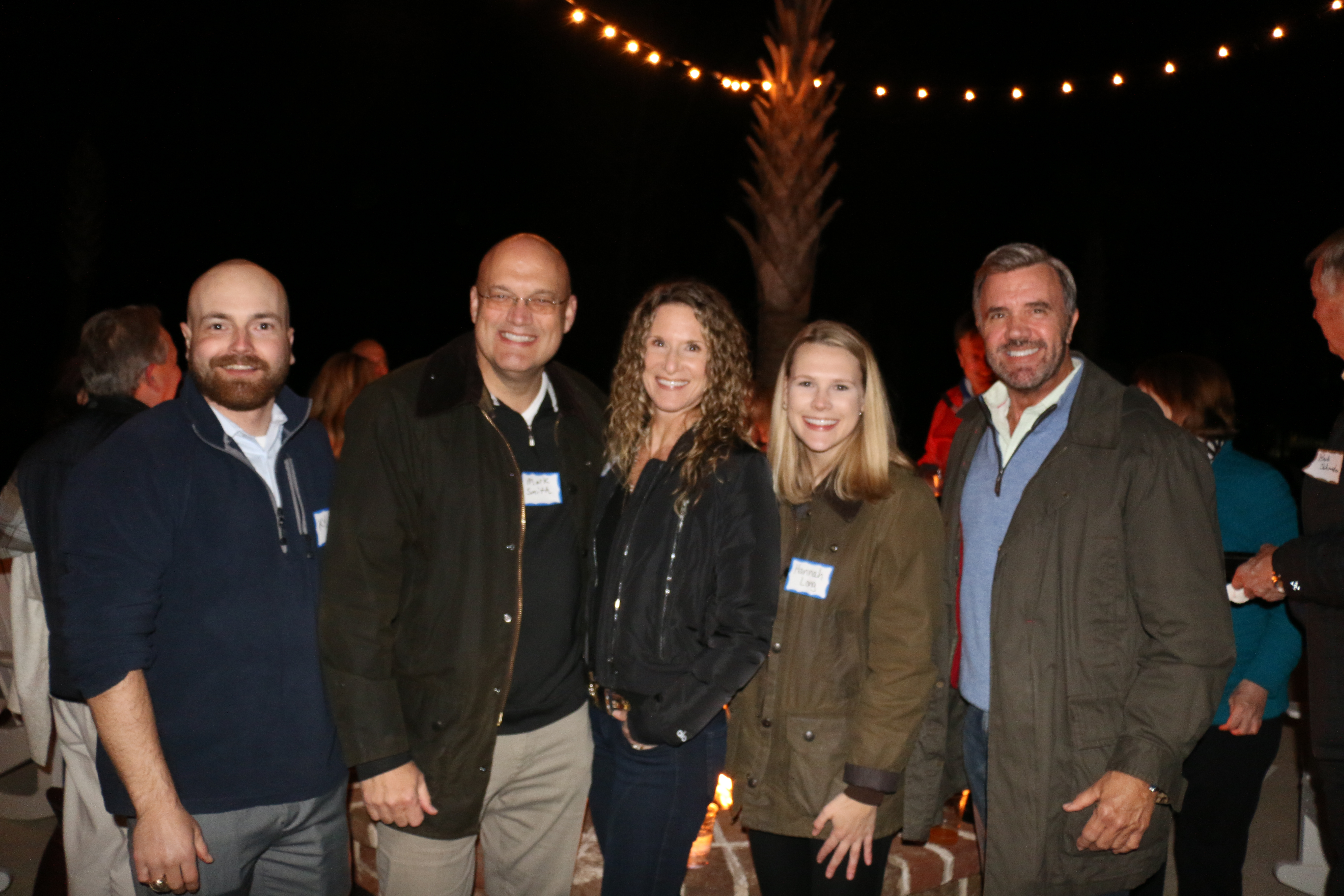 Even after the sun went down on Daniel Island, Kyle Taylor, Mark Smith, Elayne Smith, Hannah Long and Bill Stovall gathered in good company at the networking event.