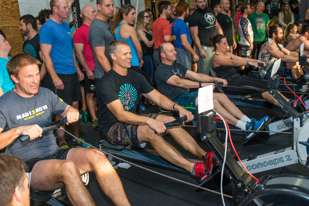 CrossFit Discovery owner and head coach Robert VanNewkirk, second rower from left, gets in on the action!
