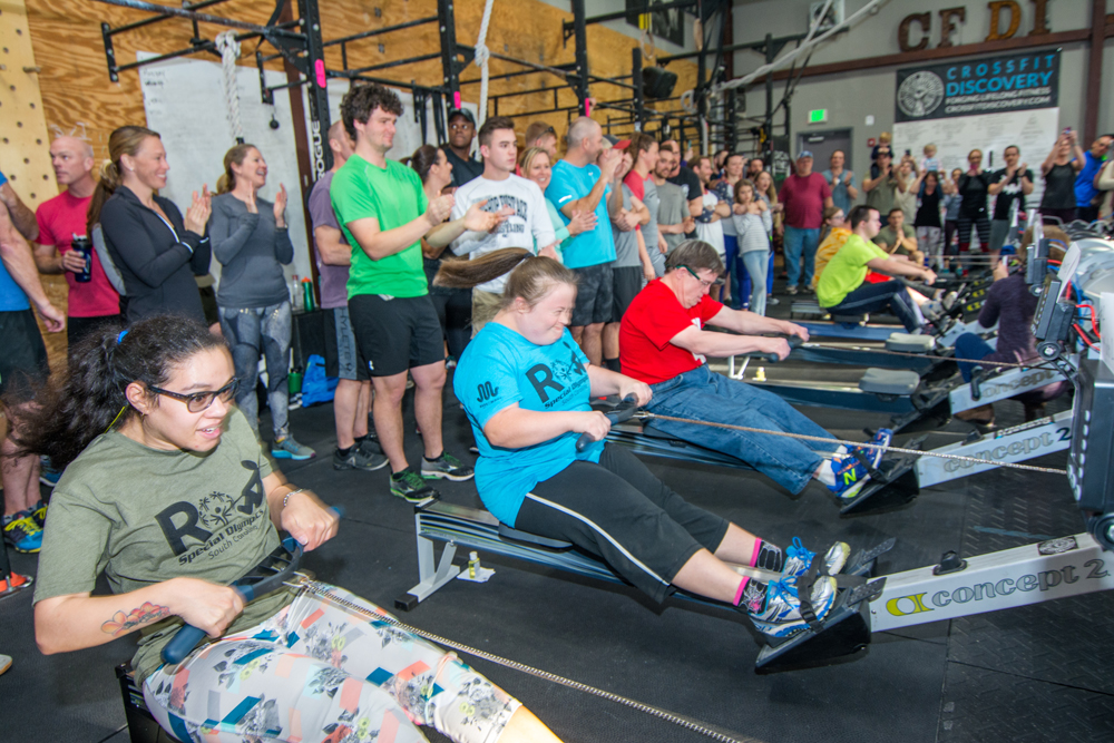 "Special Olympics athletes row the ""Kickoff Minute."""