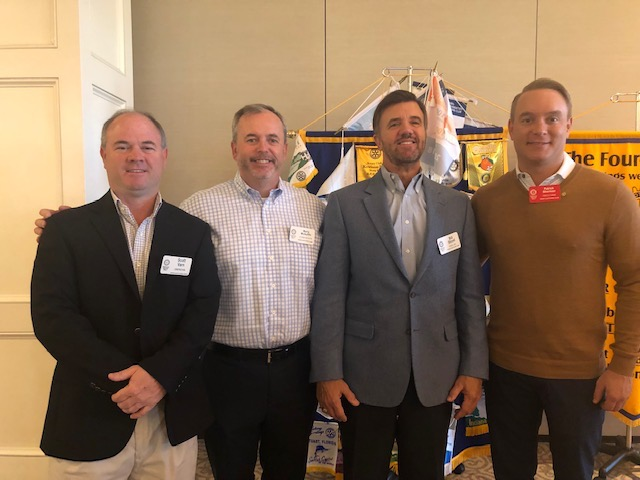 New member Patrick Sherman (far right) poses with Rotary Club of Daniel Island President Scott Varn, Patrick's sponsor Marty McAuliffe, and club membership chair Bill Stovall.