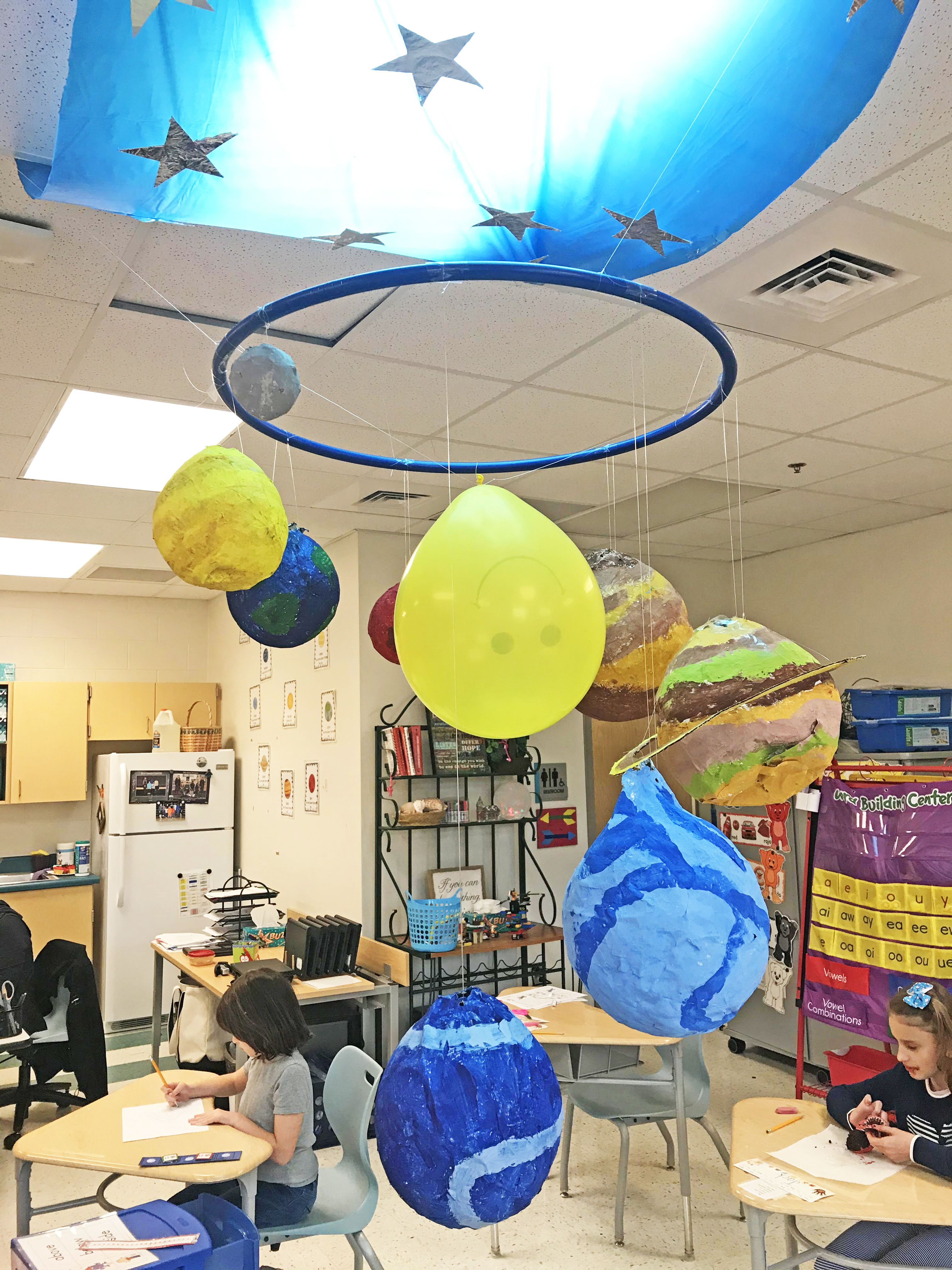 "The X-CAT class at Philip Simmons Elementary School created this model of the solar system. ""Our class has been studying the solar system this month,"" said teacher Sharon O'Keefe. ""The students created the planets using papier-mâché, and then each student was assigned a planet to paint. The students used a picture of the planet to determine what colors to paint their planet. They are very proud to have their class solar system hanging from our ceiling, to show all that come through our room."" The X-CAT class, also taught by Renee Jensen, is made up of students in grades K-4."