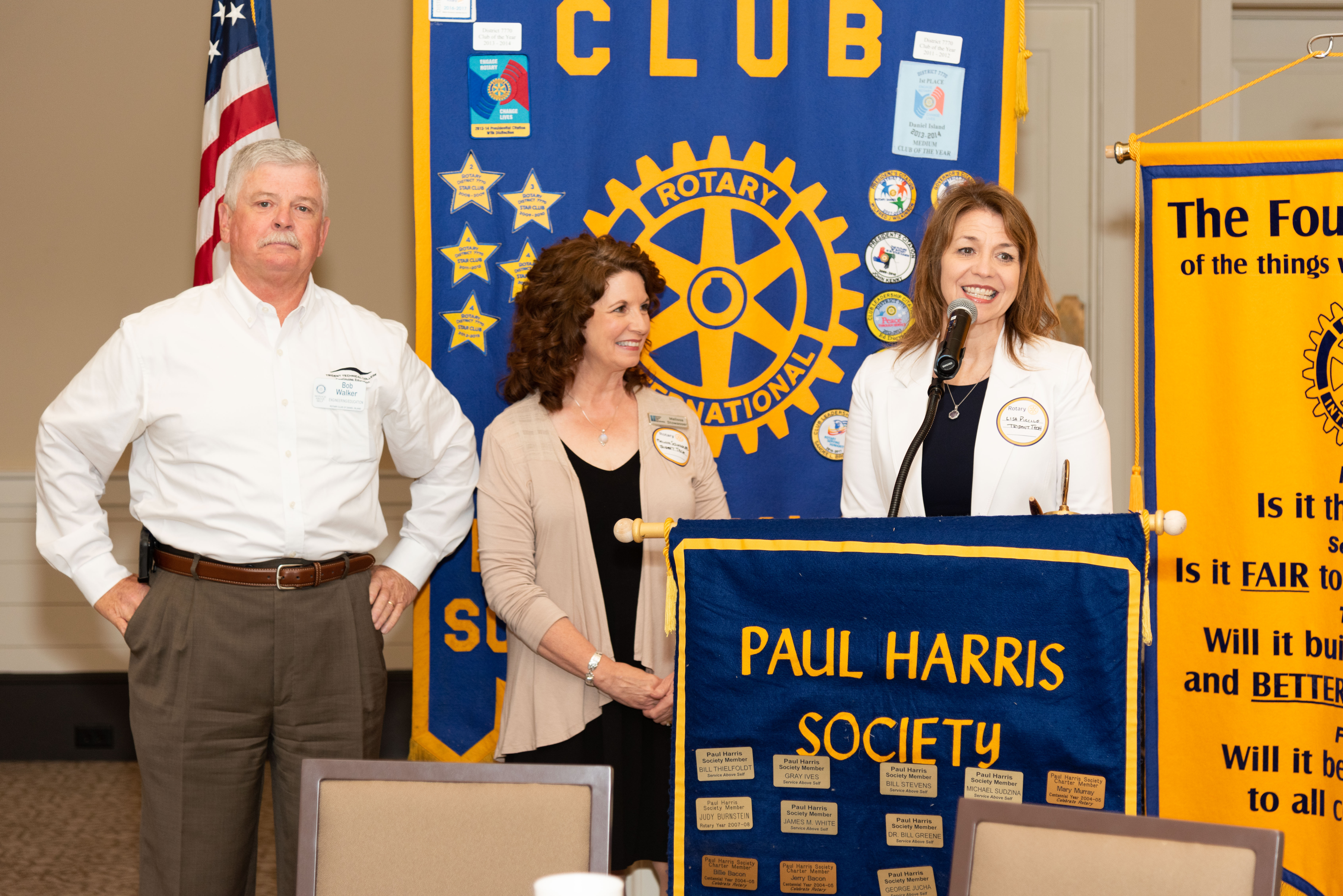 Lisa Piccolo, Trident Technical College's vice president for development and executive director of the TTC program, takes time to thank the Rotary Club of Daniel Island for their support of the college's youth apprenticeship program.