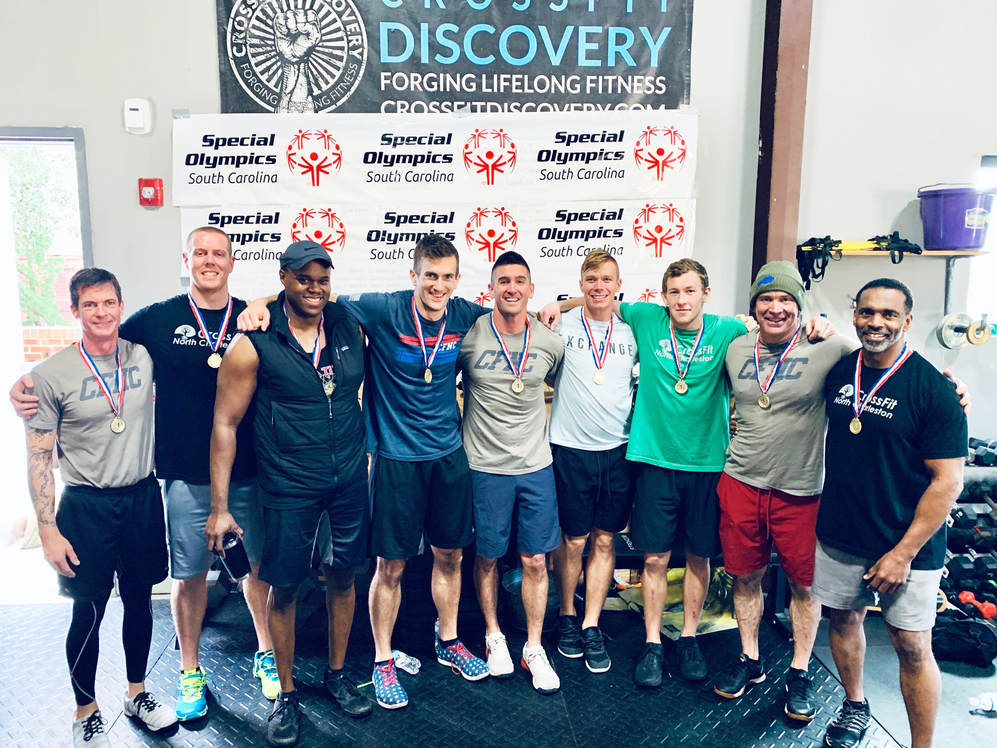 "Part of the ThROWdown included a team competition. Pictured are members of the first place team from CrossFit North Charleston. Second place went to ""No Bull Just Row"" and the third place team was Made 2 Move Physical Therapy of Daniel Island."