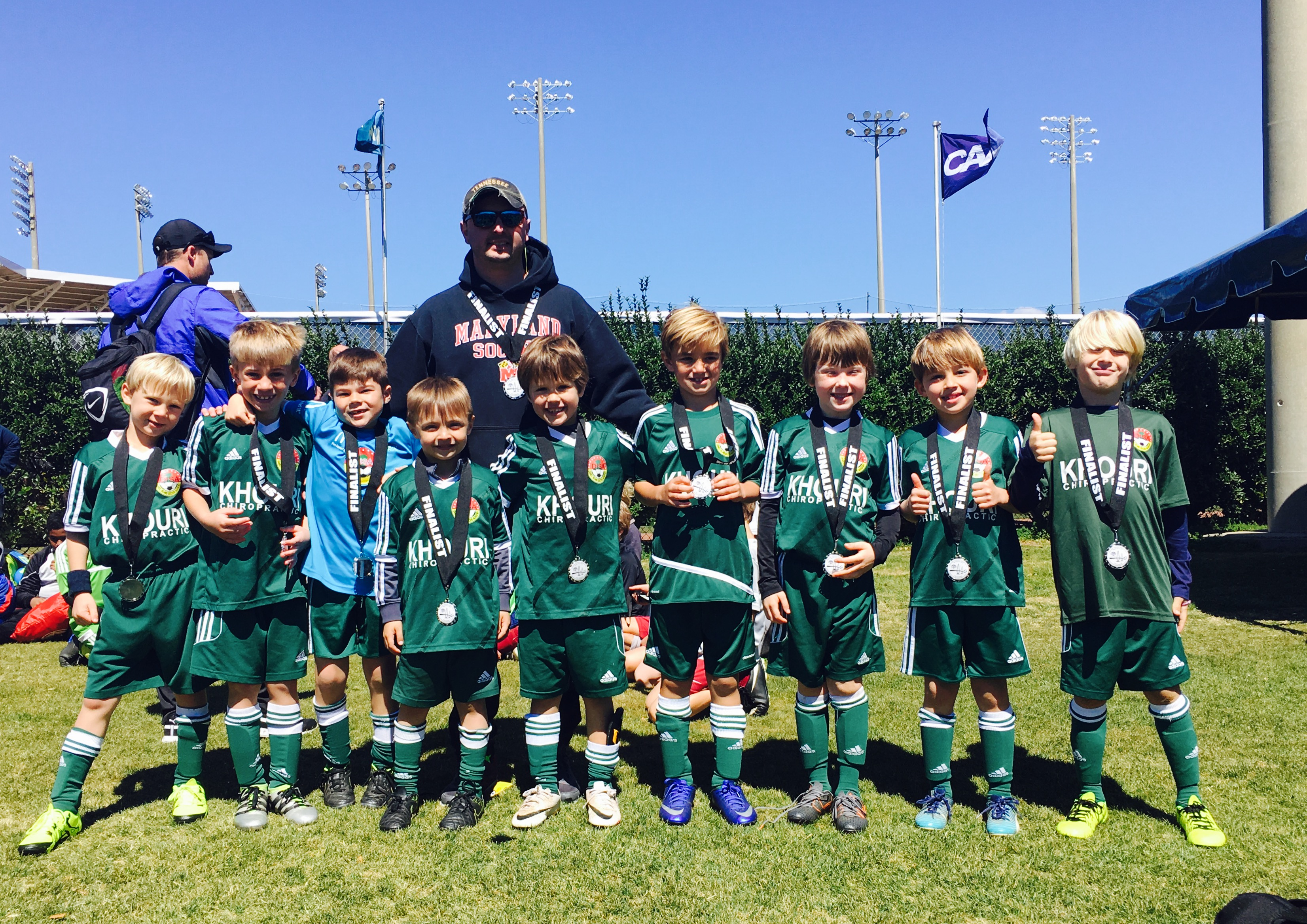 U8 Timbers (DISA) Left to right: Connor Leddy, Lucas Rizzetto, Grady Beard, Zak Turner, Miles Orvin, Grayson Barna, Ben Hoover, Louis Rainero, Ralston Potts and Coach Luis.