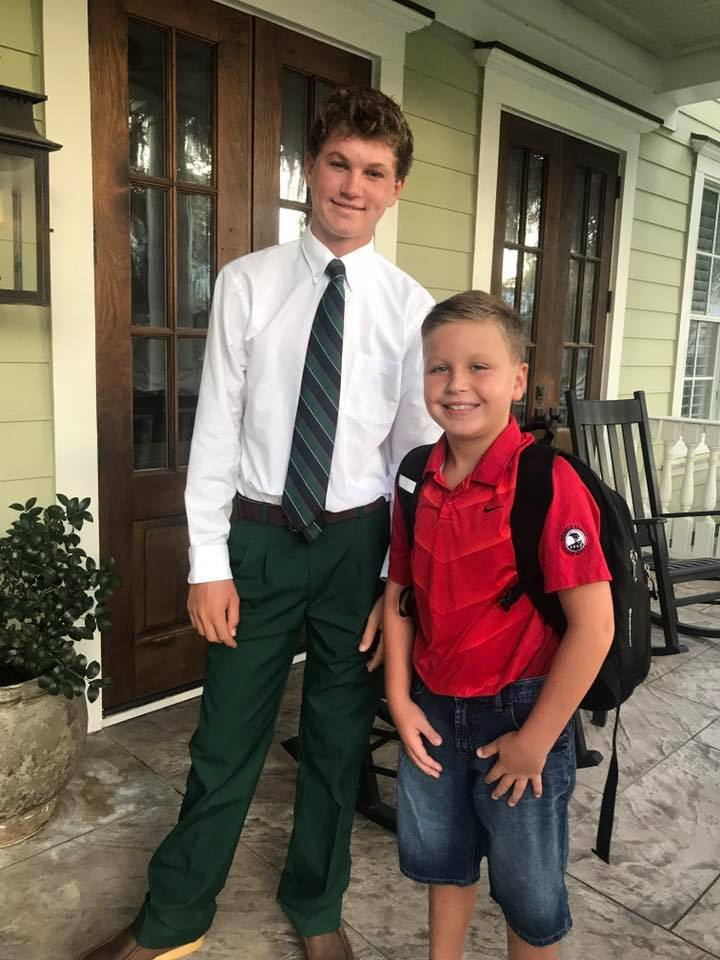 Bishop England High School student Austin Scott poses with his little brother, Caden, a fourth grader at Daniel Island School.