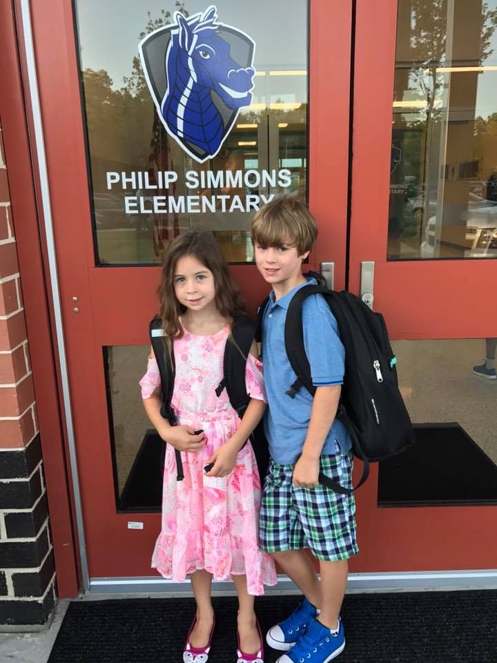 Philip Simmons Elementary School students Samantha Berden, second grade, and her brother, Miles, third grade.