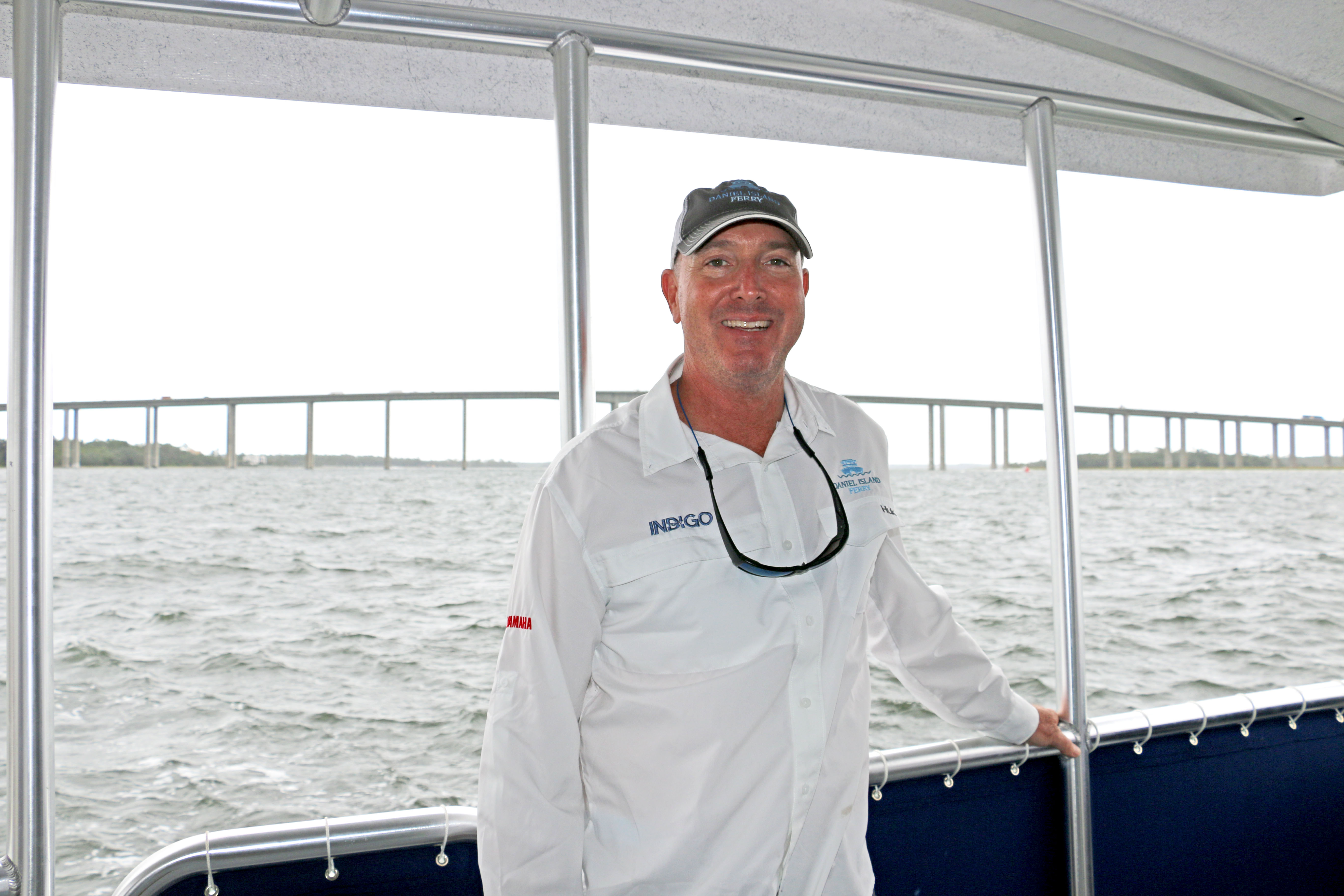 Chip Deaton, co-owner and captain of Daniel Island Ferry, is seen aboard the new boat, Indigo, that will begin service for passengers going between Daniel Island and downtown Charleston.