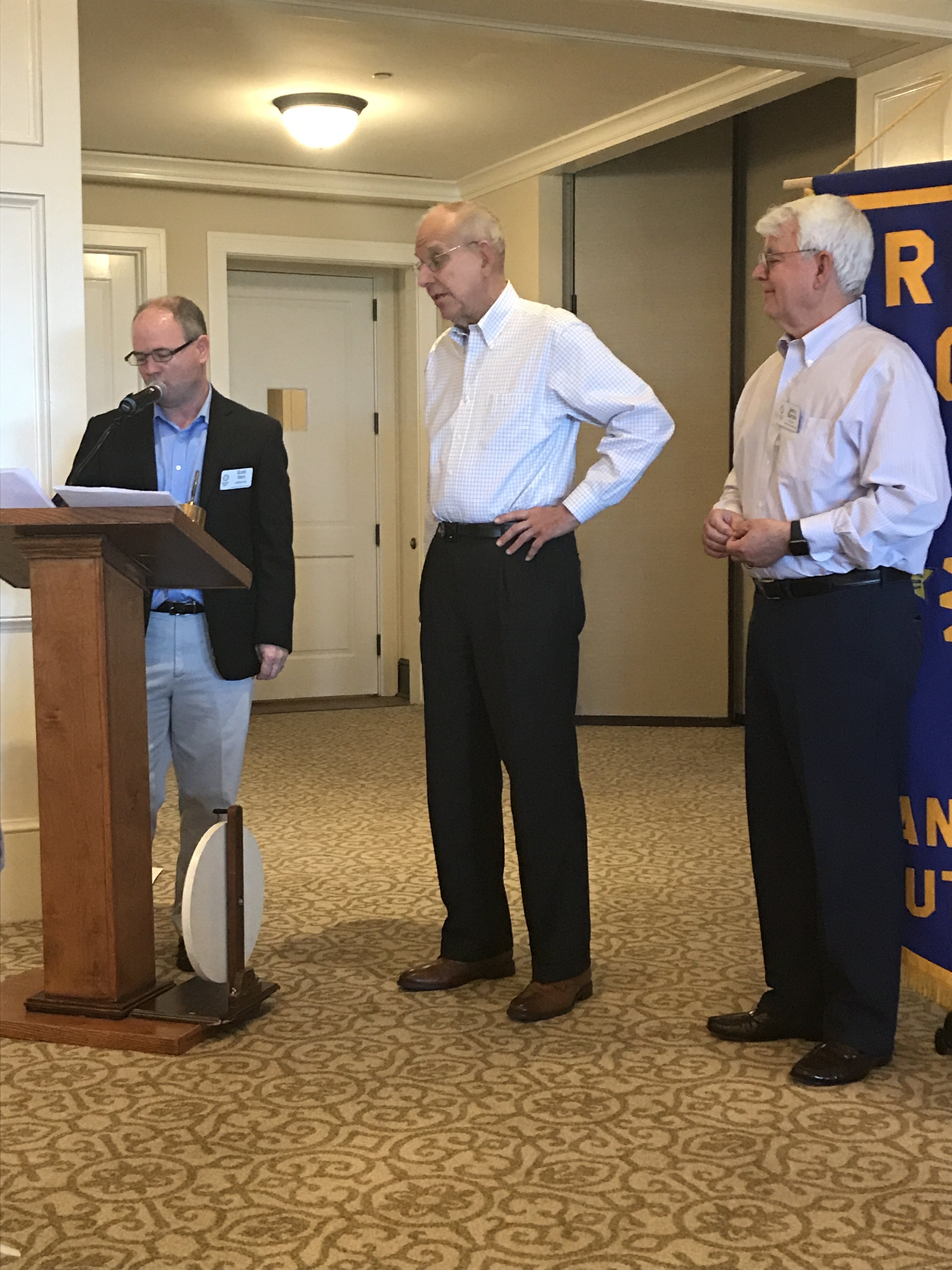 L-R: Rotary Club President Scott Varn with new member Dr. Bob Grubb and Dr. Grubb's sponsor, Jerry Bacon.