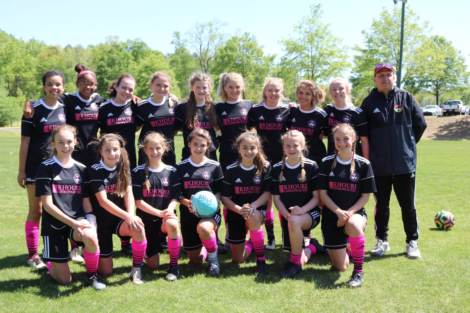 DISA U14 Gators, before their semi-final match at the S.C. Youth Soccer President's State Cup in Greenville. Top row: Gabby Hylton , Marley Walker, Cecilia Ollis, Jennifer Szlosek, Emma Darnell, Grace Herman, Claire Esse, Stephanie Kirk, Morgan Davis and Coach Andrew Kirk. Bottom Row: Meredith McDonald, Bianca Olivetti, Carly Becvinovski, Makayla Brunetti, Avery Darr, Emily Scarth and Morgan Ramsey.