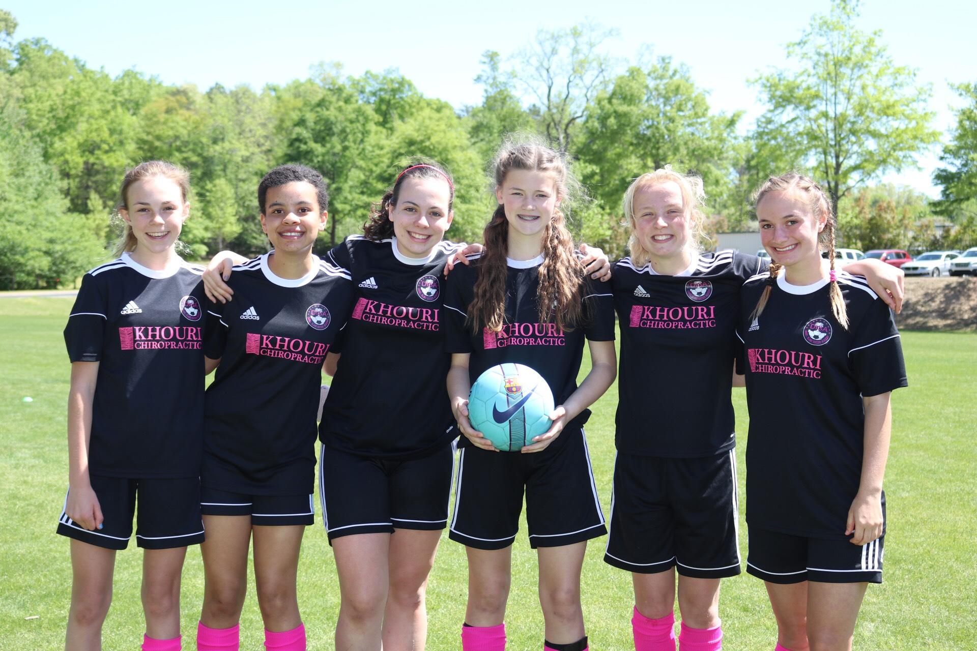 The Gators' defensive players (left to right): Meredith McDonald, Gabby Hylton, Cecilia Ollis, Emma Darnell, Morgan Davis and Morgan Ramsey.