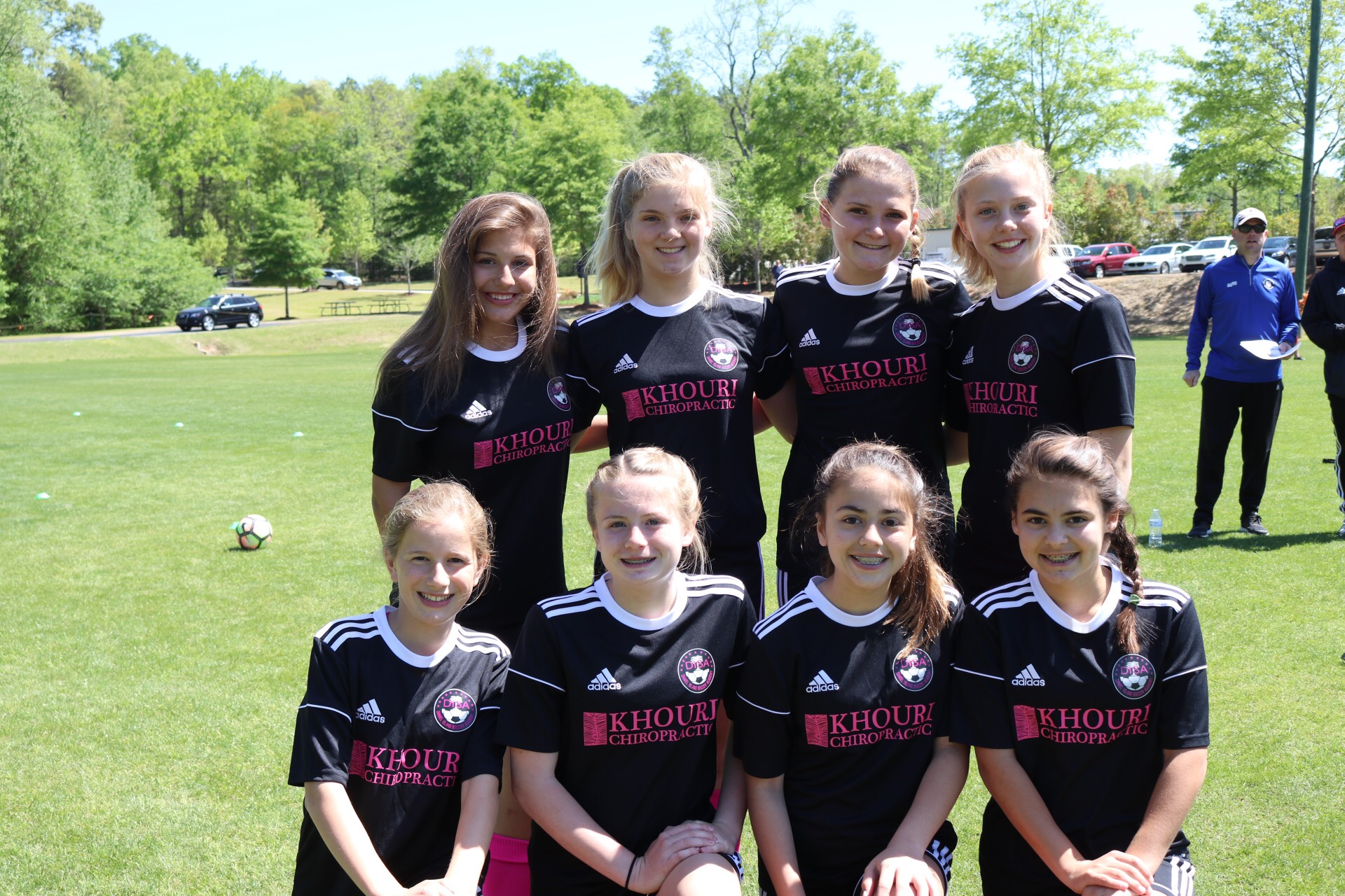 The Gators' midfielders and forwards (left to right - top row): Stephanie Kirk, Grace Herman, Jennifer Szlosek and Claire Esse. Bottom row: Carly Becvinovski, Emily Scarth, Avery Darr and Makayla Brunetti.
