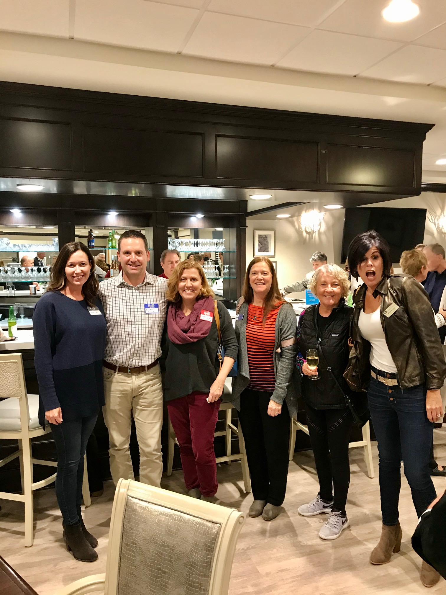What an eclectic crew! These block party attendees are, from left, Amy Giove, Dr. Ed Giove, Rosie Stieby, Jo Cooper, Carolyn Hale, and Kim Berry.