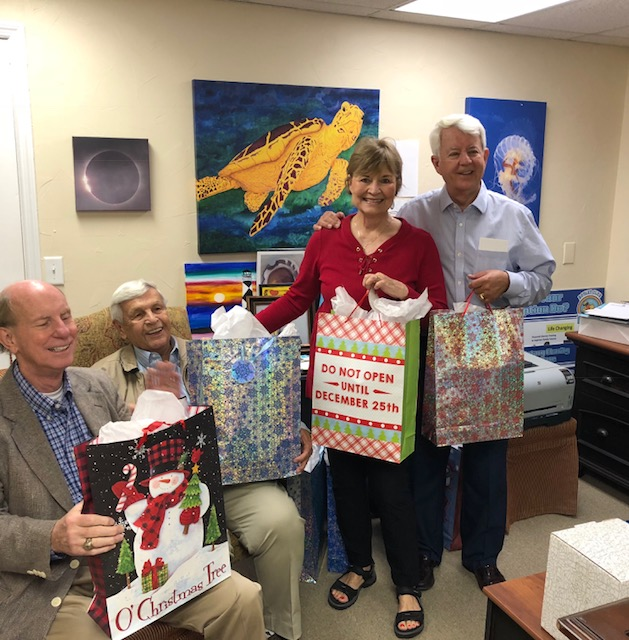 At the club's Nov. 14 meeting, Rotarians had the opportunity to wrap up 100 blankets in gift bags that were delivered to recipients utilizing East Cooper Meals on Wheels. Rotarian Billie Bacon organized the event and rounded up the blankets!