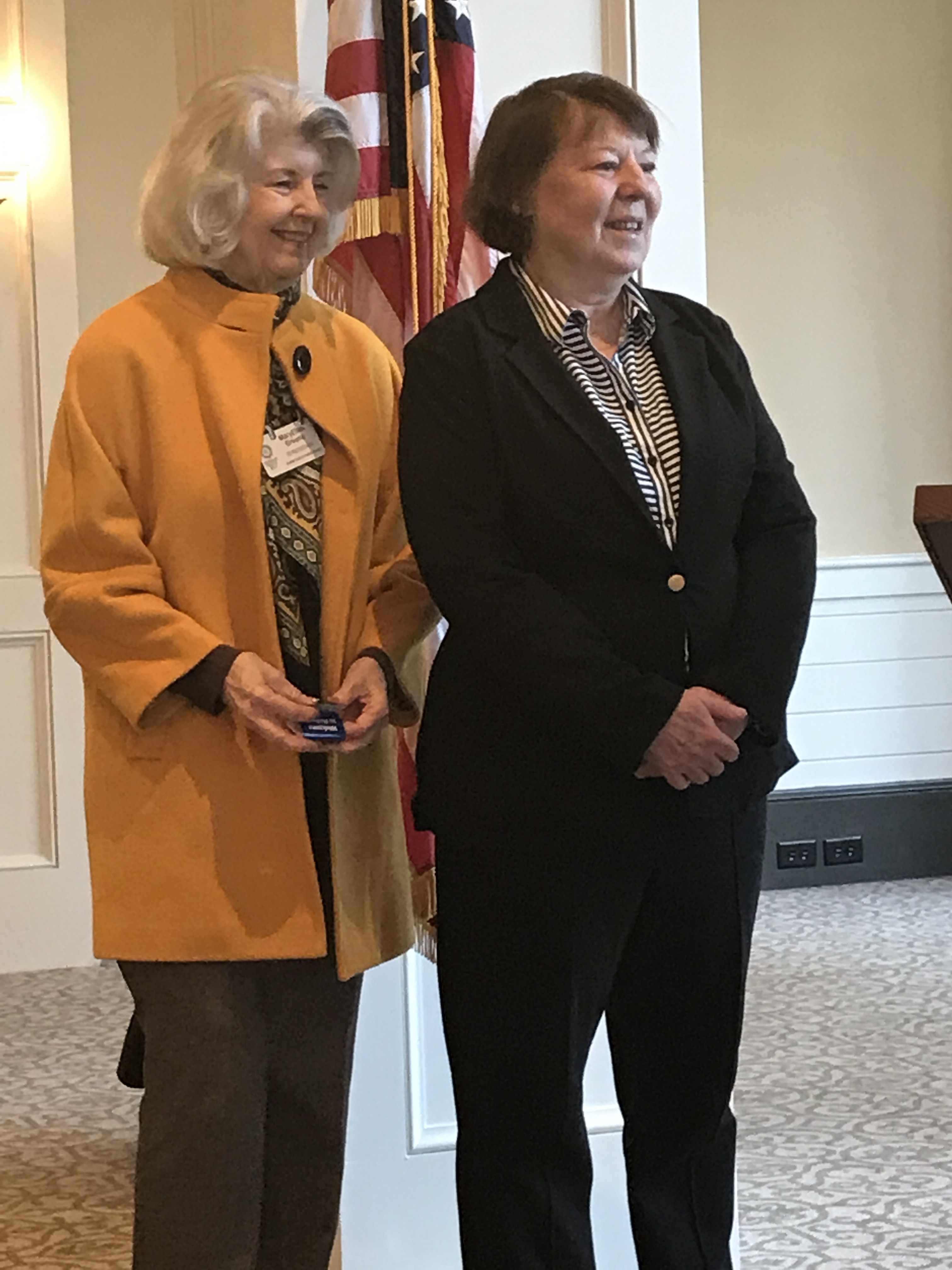 New member Maureen Cannon (right) with her sponsor MaryEllen Greene.