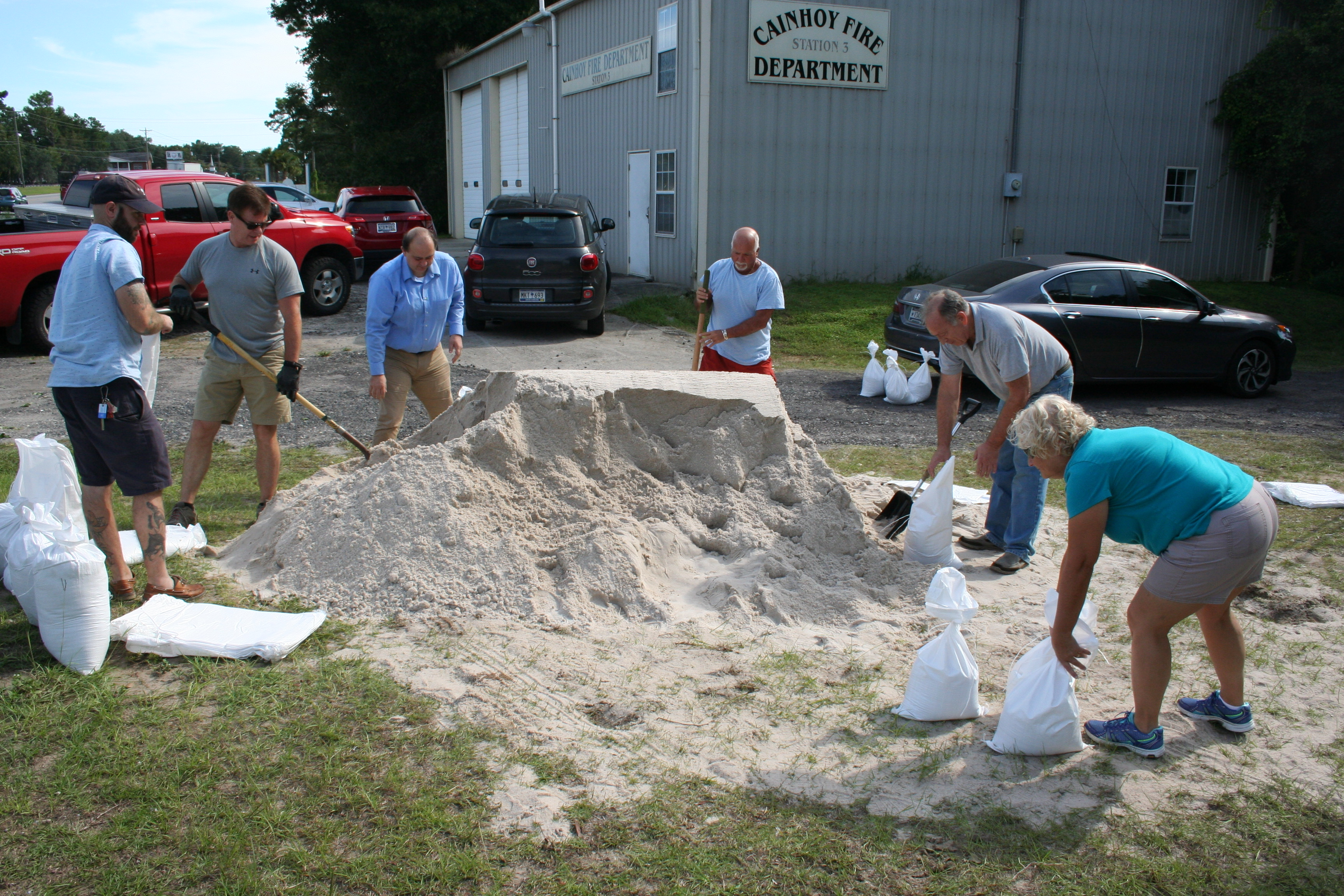 Local residents stopped in at the Cainhoy Fire Department Station No. 3 on Clements Ferry Road to pick up sandbags prior to the storm.