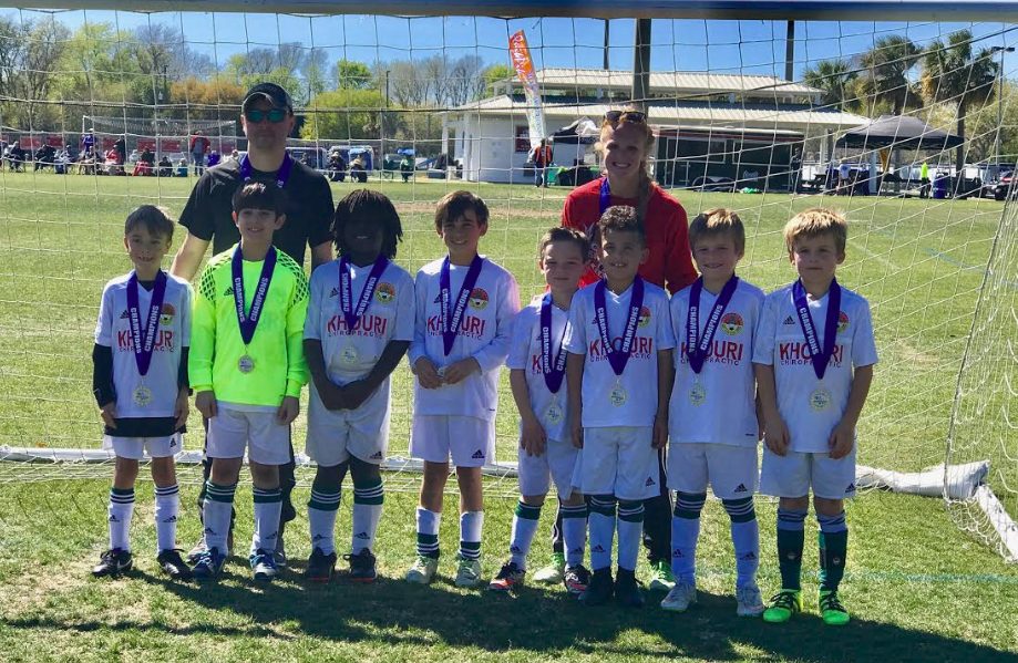 U8 Sounders (DISA)  Left to right: Jeb Pleasha, Foard Fisher, Matthew Smith, Matthew Putignano, John Geary Wenger, Gunner Khouri, Chase Tonon, Trevor Tonon and Coach Alicia.