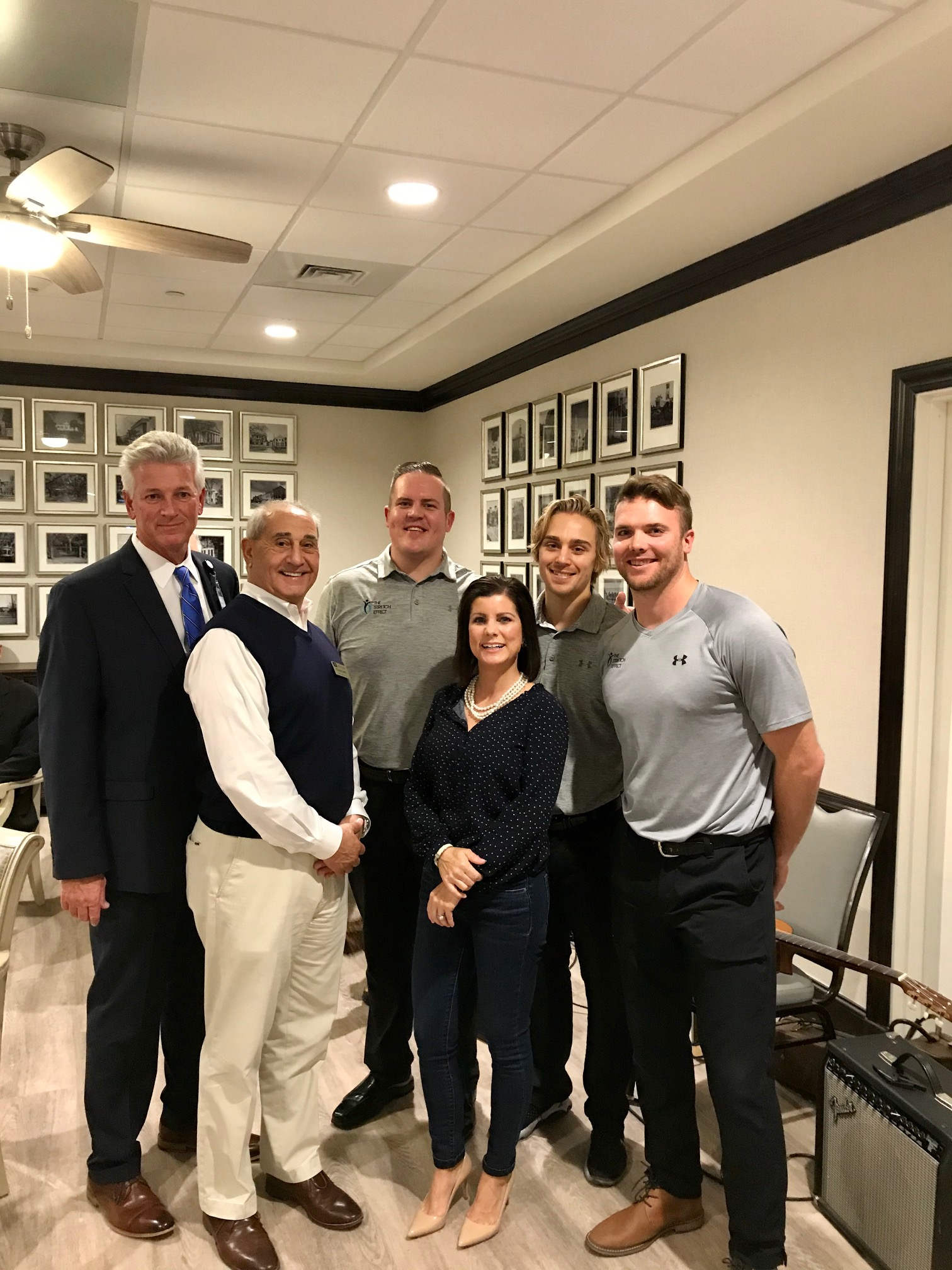 The Daniel Island Business Association held its monthly block party at Wellmore of Daniel Island last week. Pictured, from left, is Executive Director of Wellmore Jeff Barber, DIBA president Chuck Latiff, Matt Tripp with The Stretch Effect, Rachel Urso with Coastal Luxury Homes, Nick Bosley and Jamie Brown, both with The Stretch Effect.