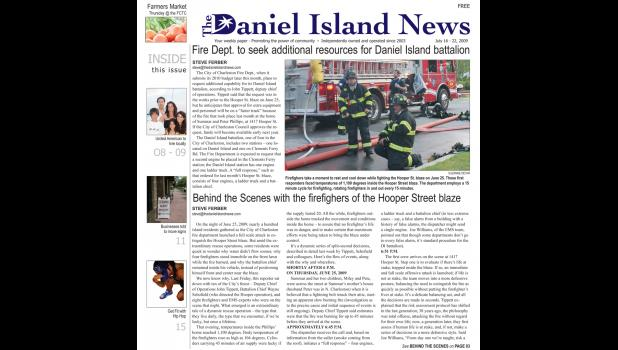 More details from the Hooper Street house fire were included in an article on the cover of the July 16, 2009 edition.