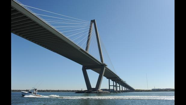 The view of the Ravenel Bridge from the Daniel Island Ferry.